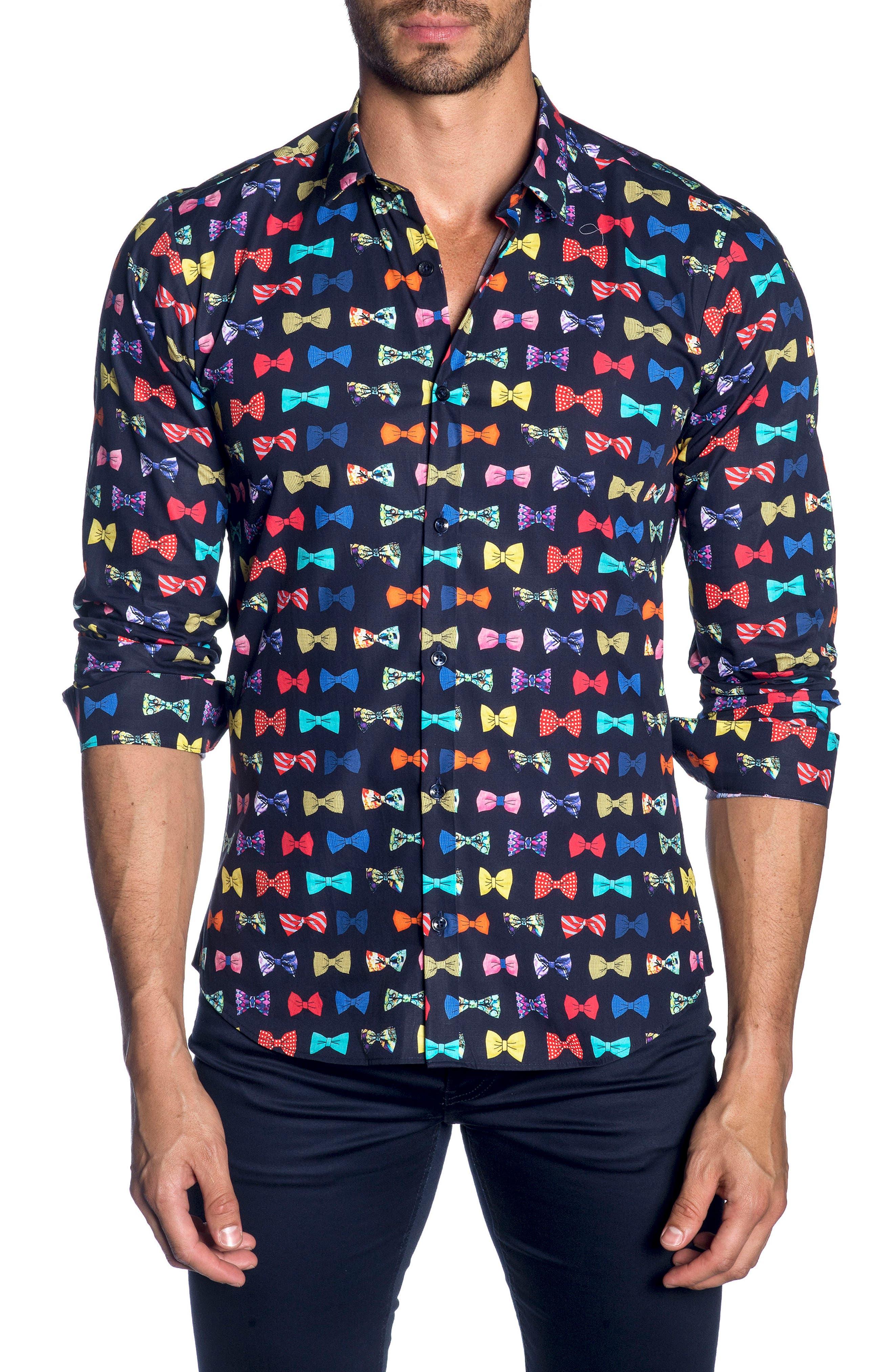 Trim Fit Sport Shirt,                             Main thumbnail 1, color,                             Navy Bow Print
