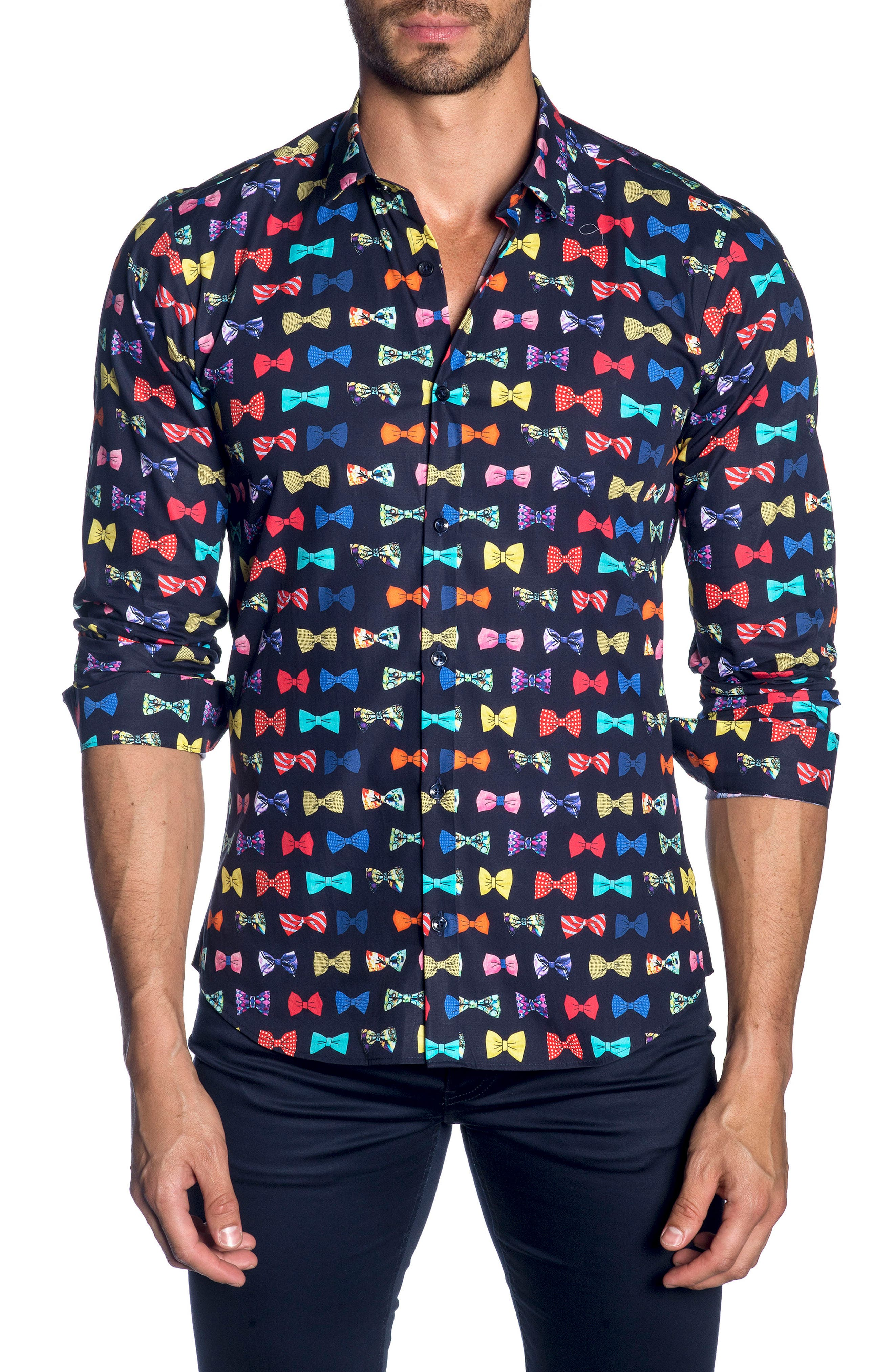 Trim Fit Sport Shirt,                         Main,                         color, Navy Bow Print