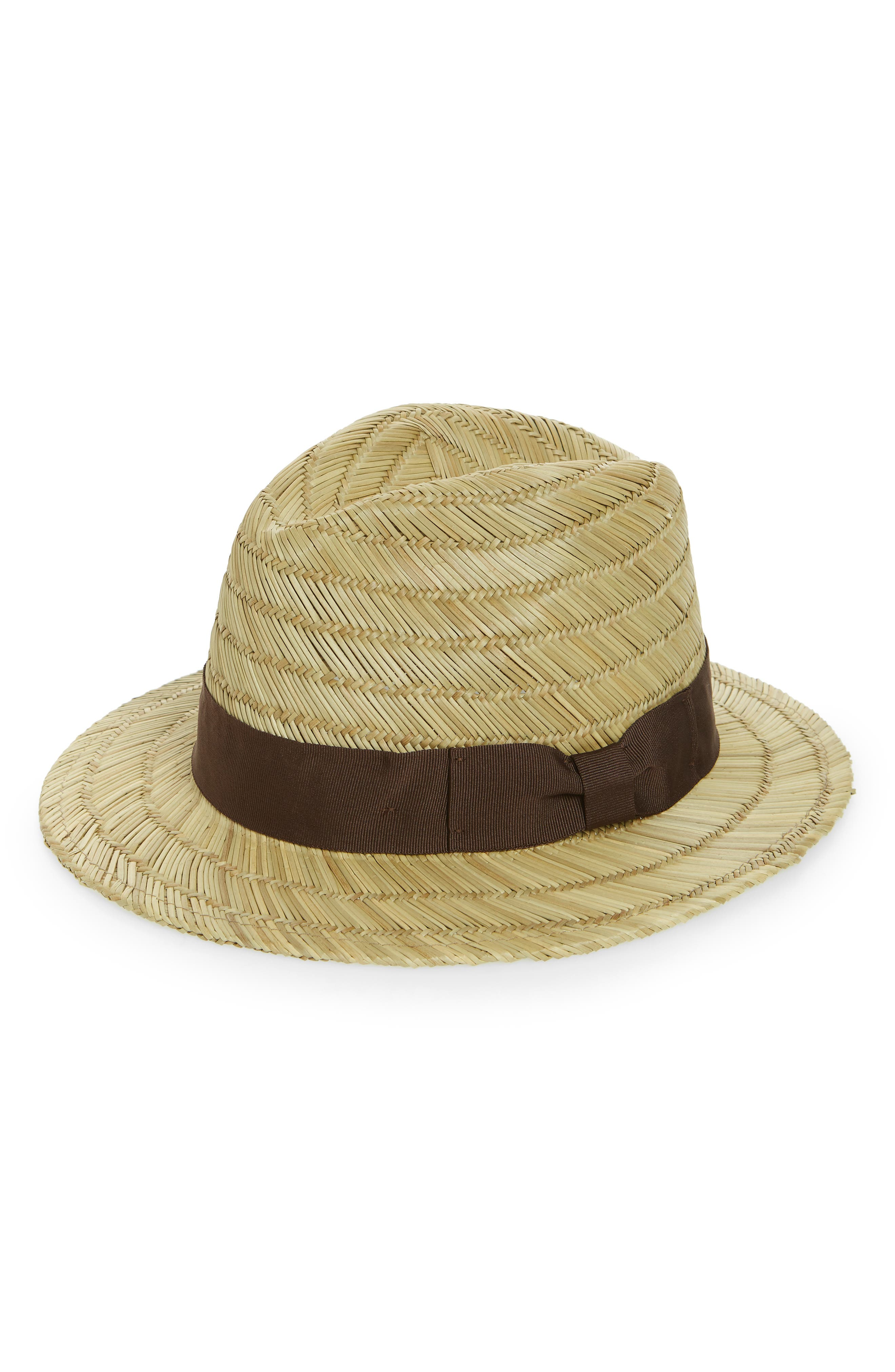 Rollins Straw Fedora,                             Main thumbnail 1, color,                             Tan