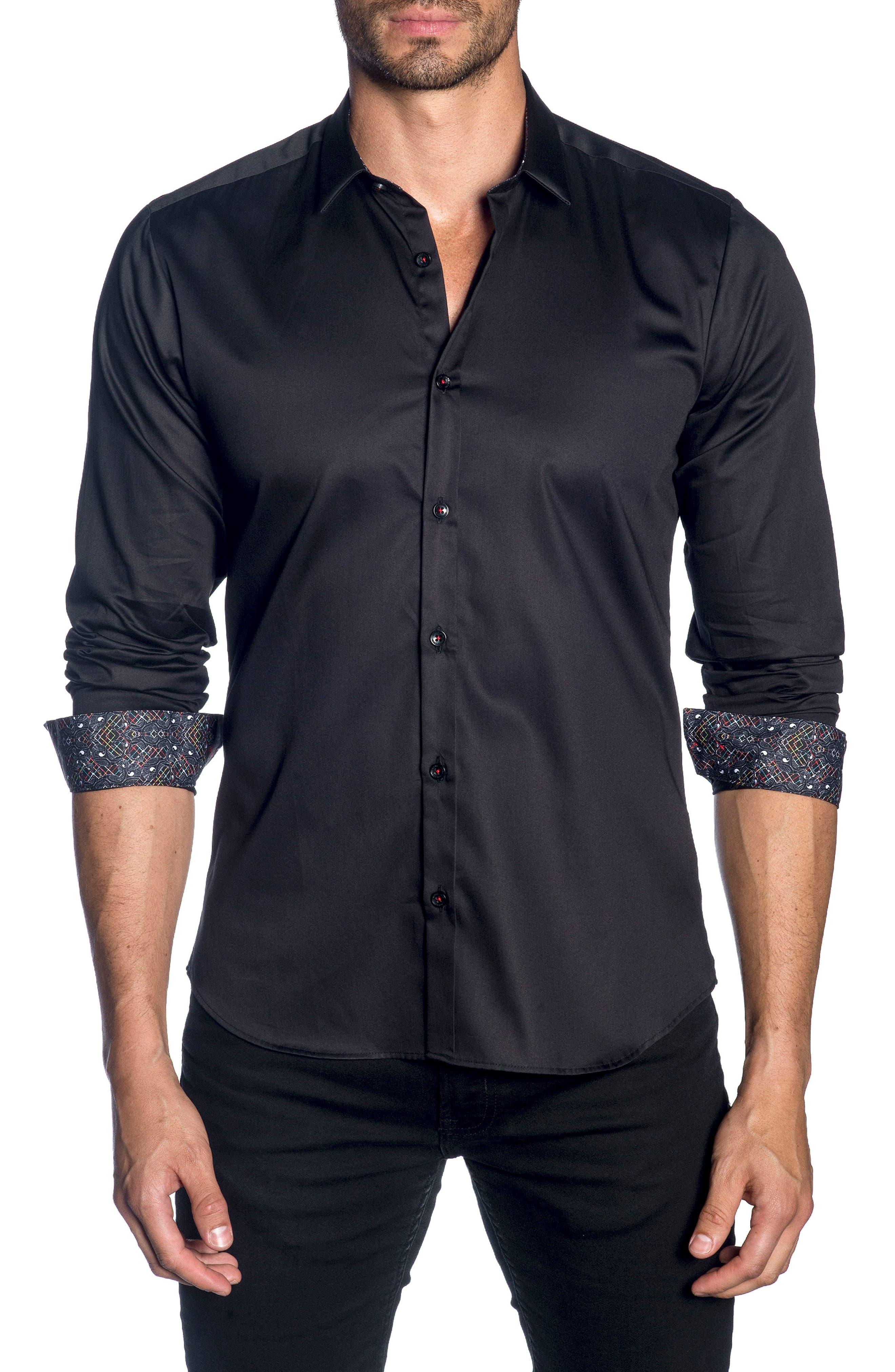 Trim Fit Sport Shirt,                         Main,                         color, Black