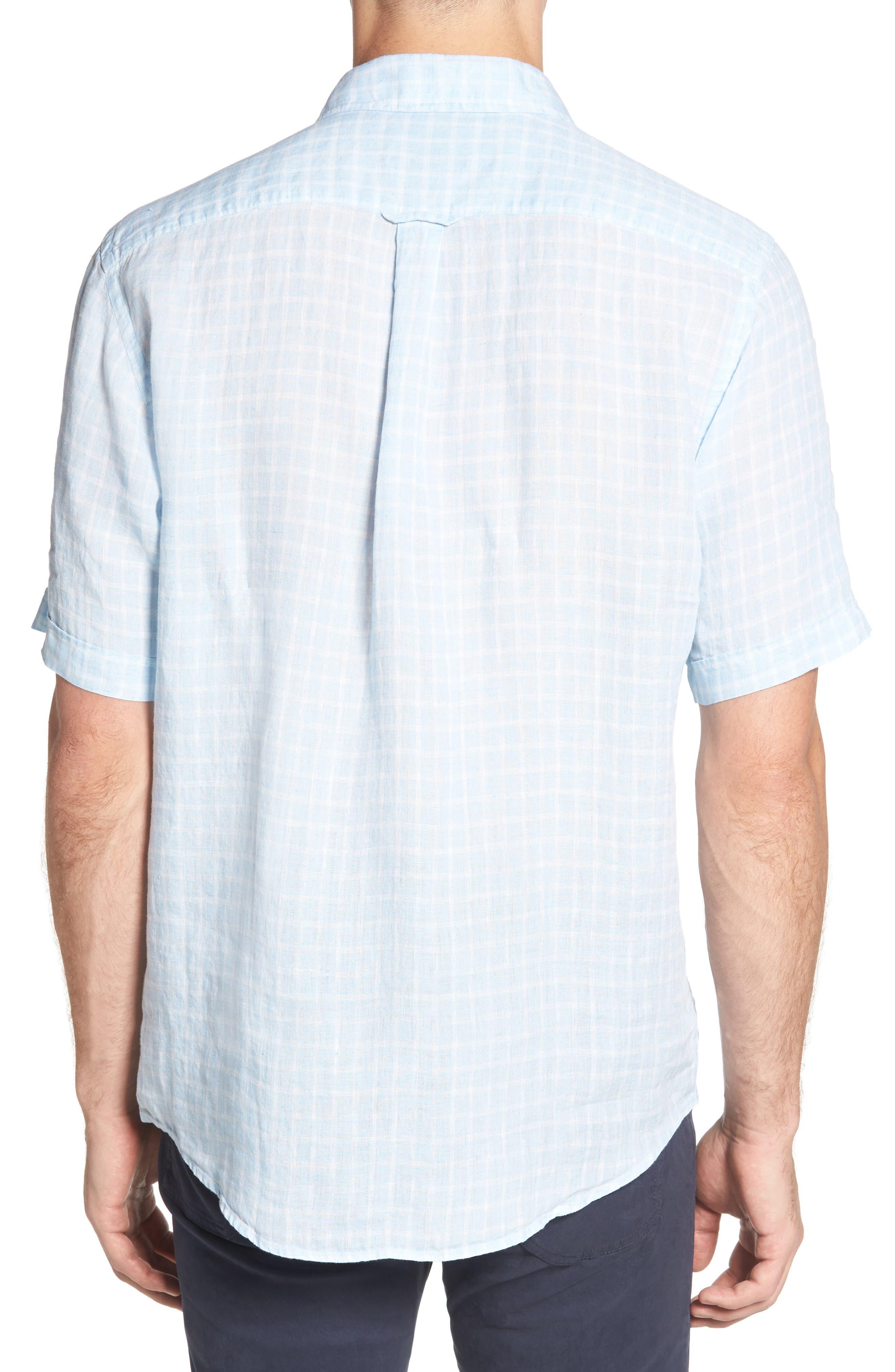 Avonside Check Linen Sport Shirt,                             Alternate thumbnail 5, color,                             Stonewash