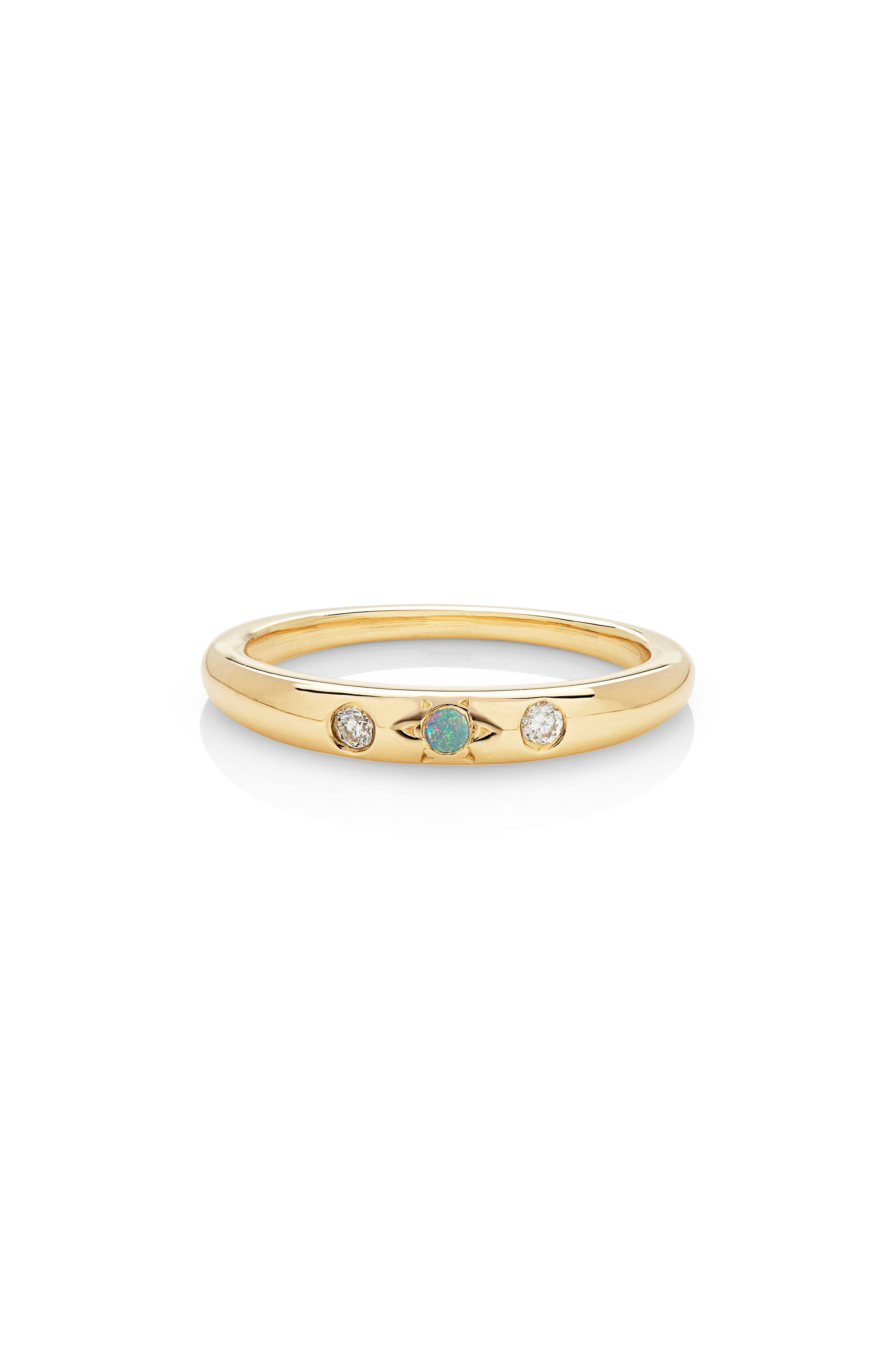 Mystic Diamond Band,                         Main,                         color, Yellow Gold/ Opal