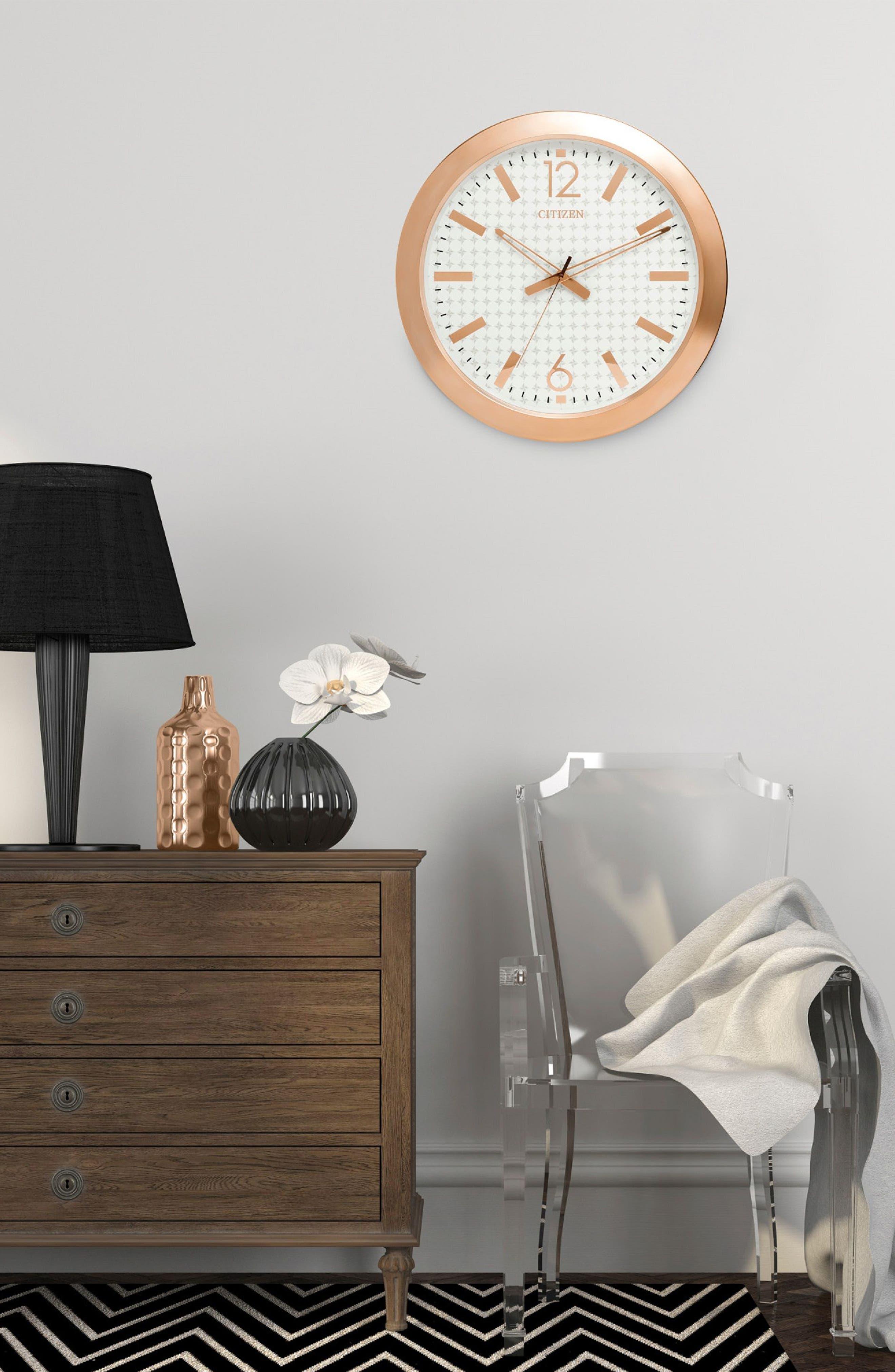 Metal Gallery Wall Clock,                             Alternate thumbnail 2, color,                             Rose Gold