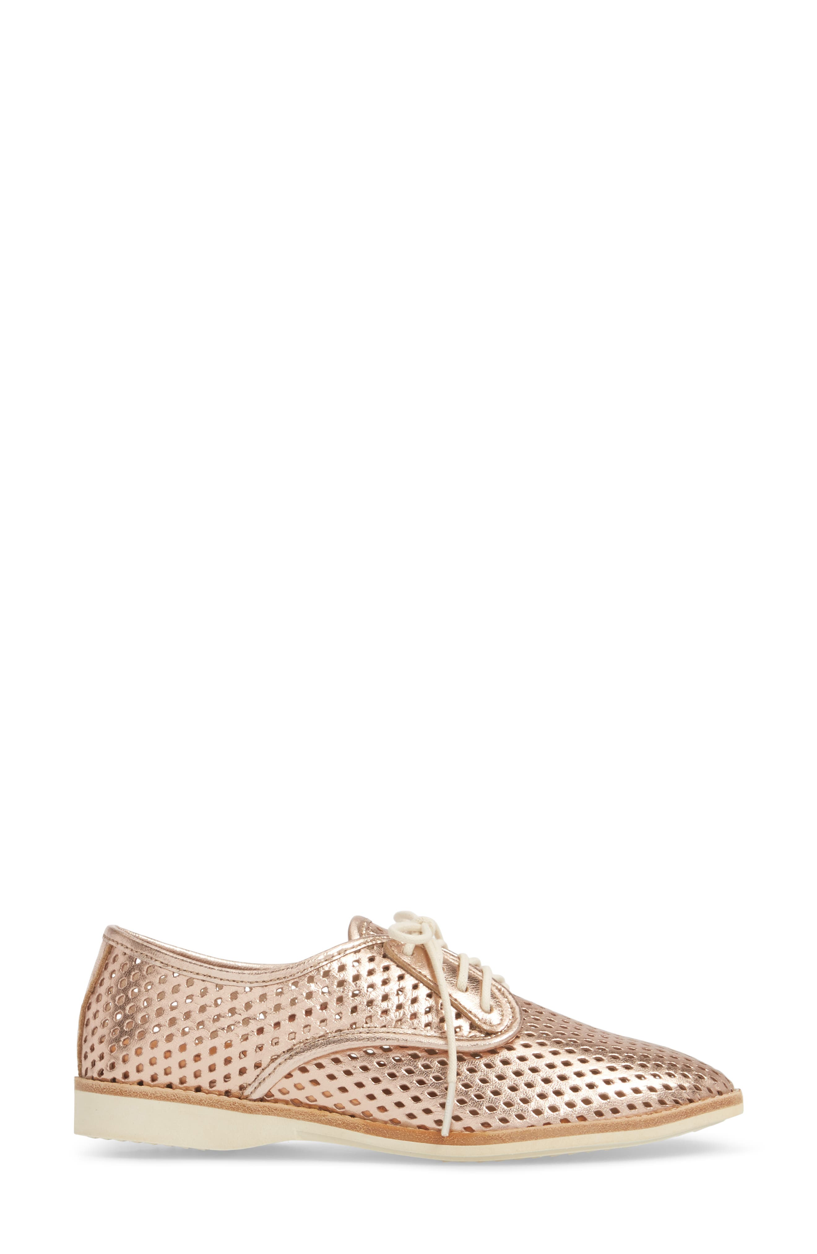 Punch Perforated Derby,                             Alternate thumbnail 6, color,                             Rose Gold Leather