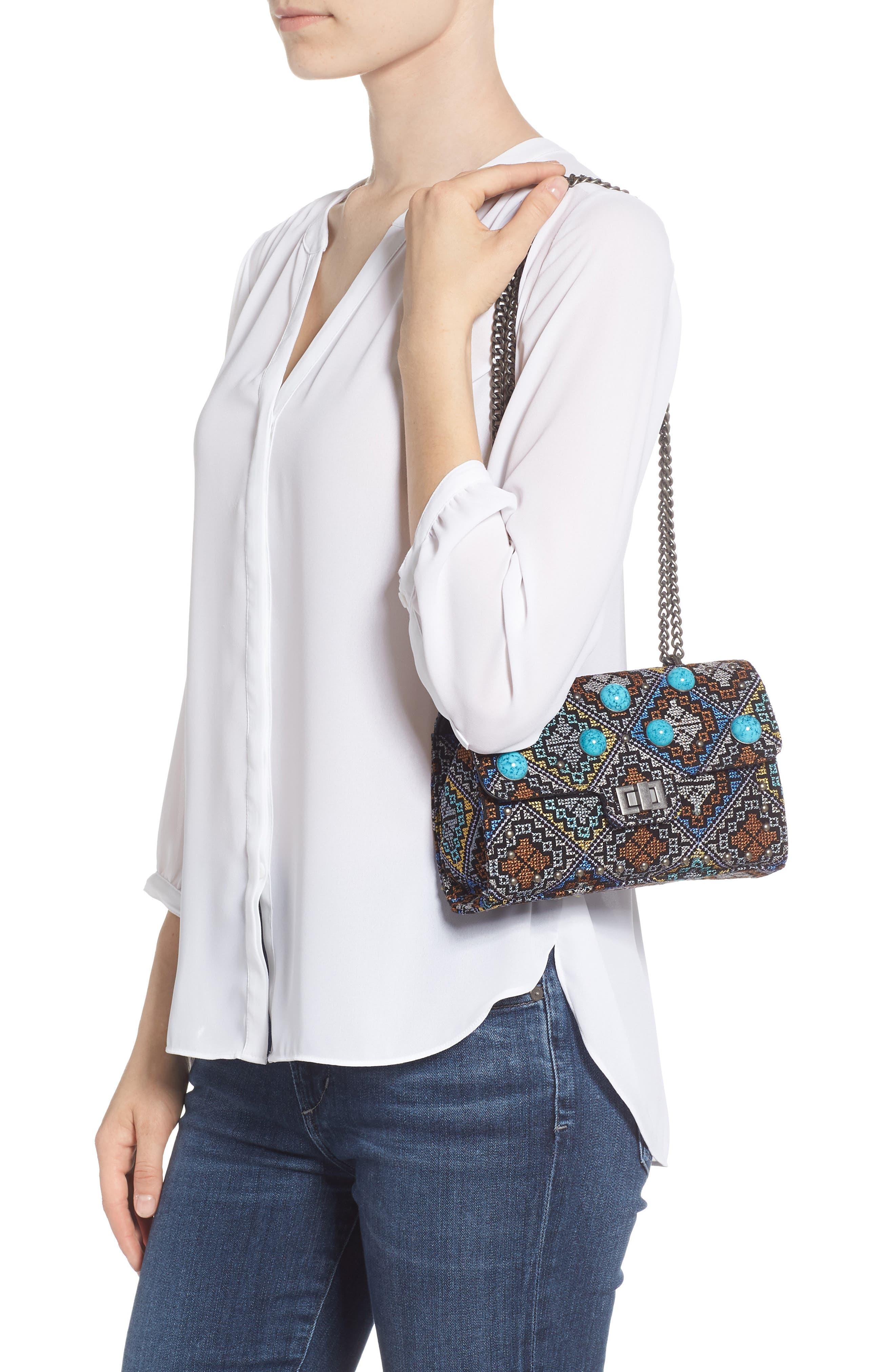 Embroidered Shoulder Bag,                             Alternate thumbnail 2, color,                             Silver Multi