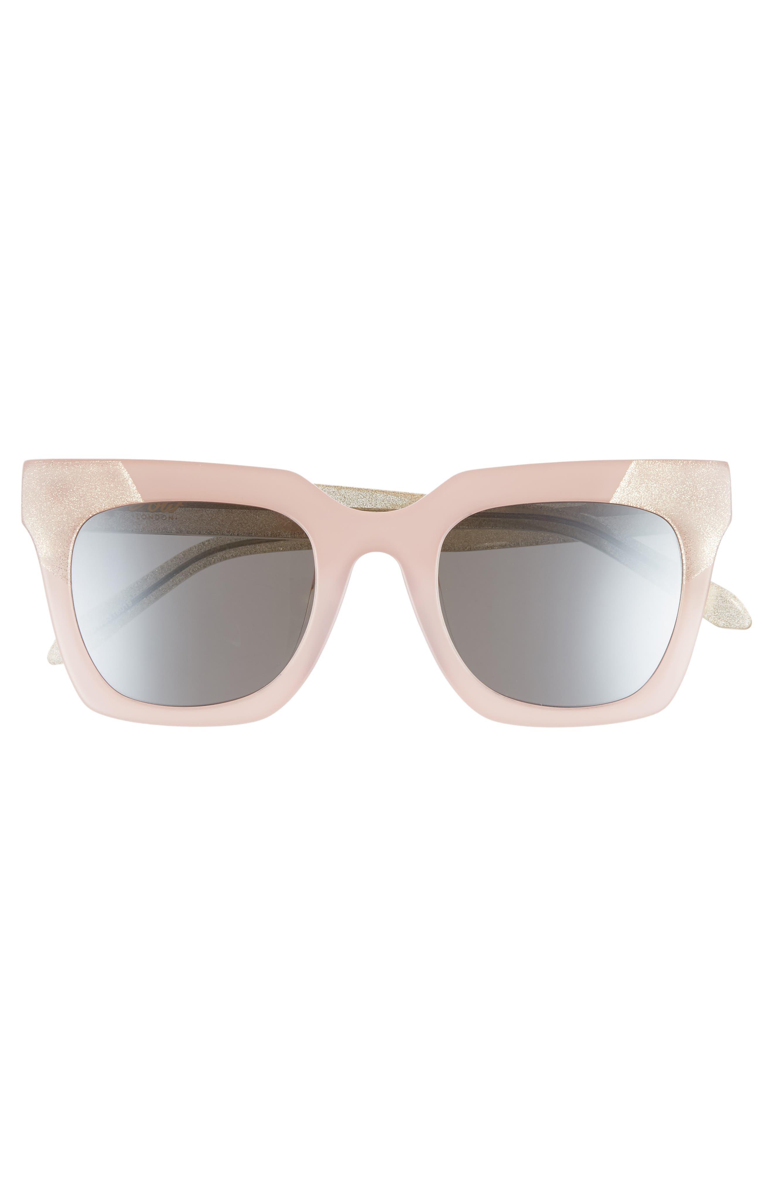 Riley 50mm Cat Eye Sunglasses,                             Alternate thumbnail 2, color,                             Milky Pink/ Smoke