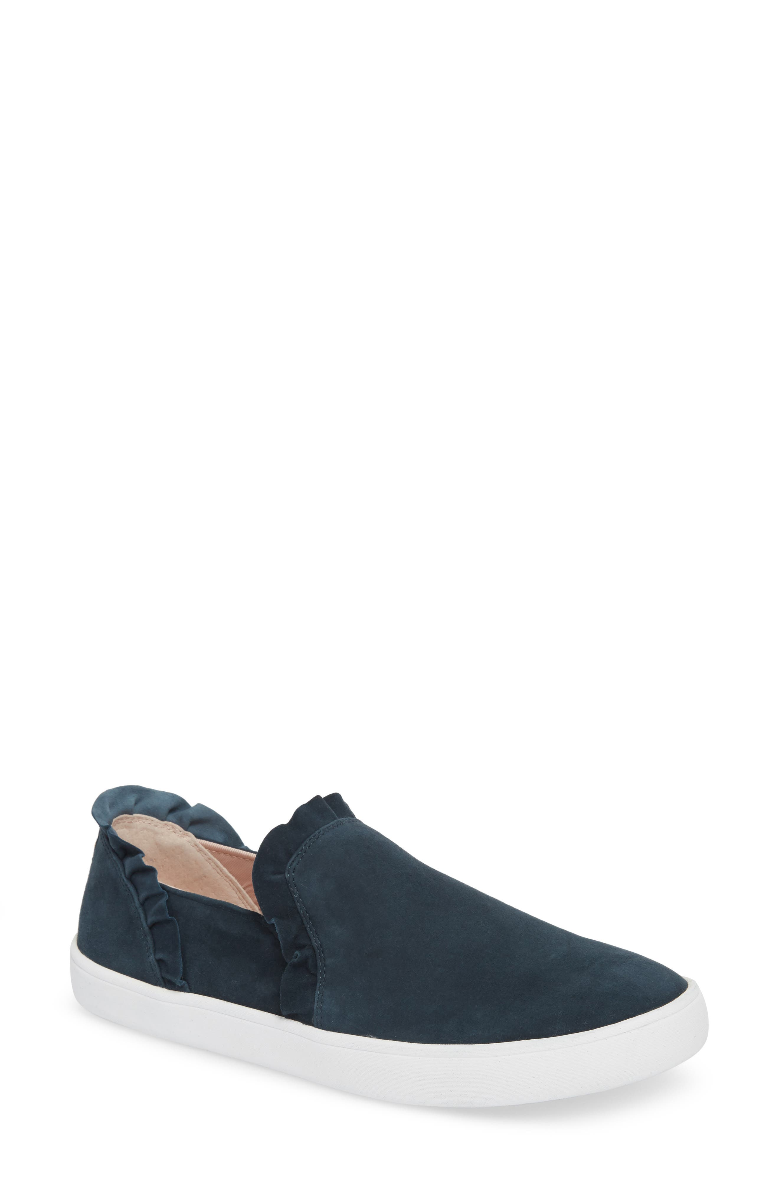 lilly ruffle slip-on sneaker,                         Main,                         color, Navy