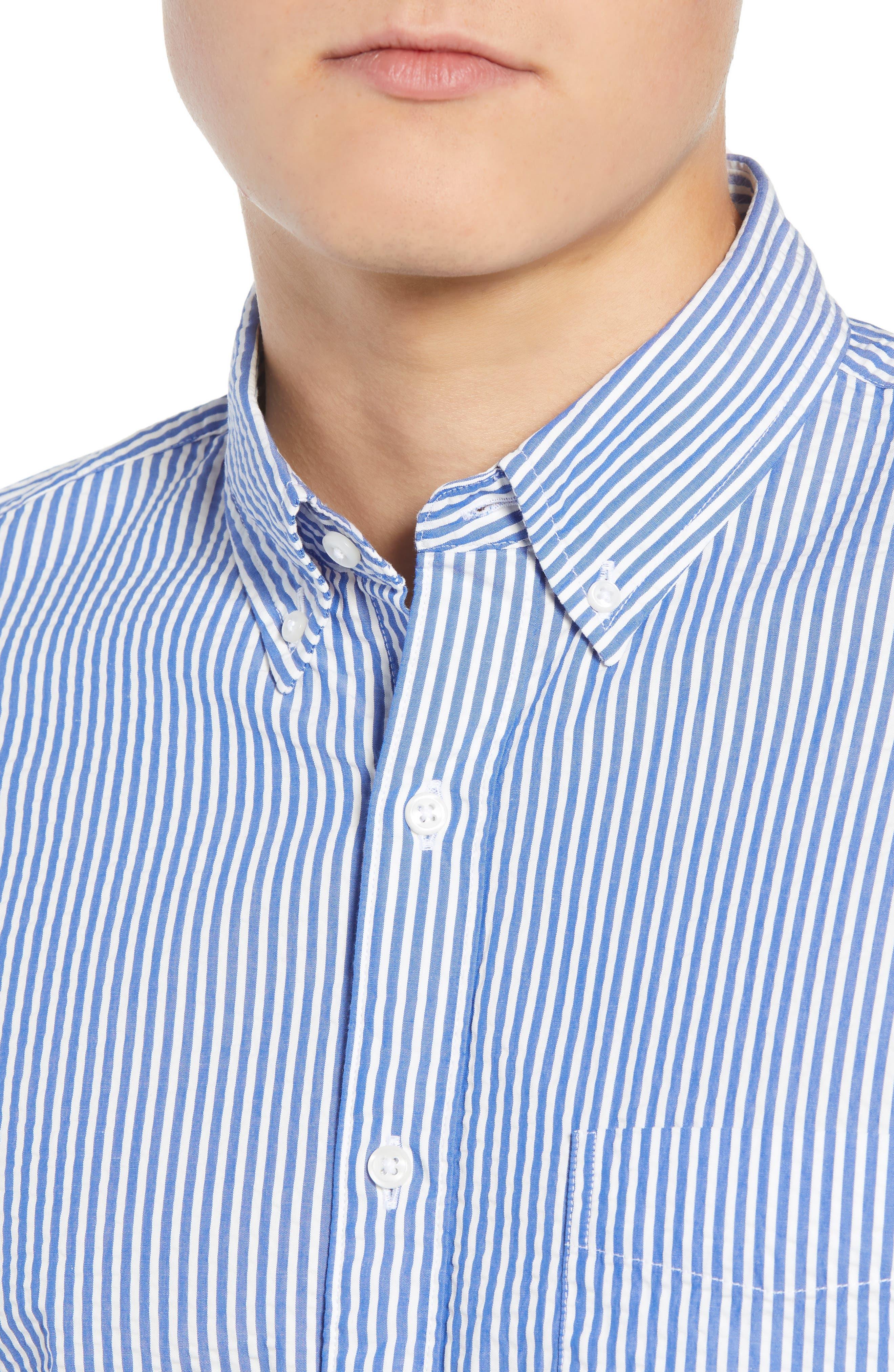 Seersucker Sport Shirt,                             Alternate thumbnail 2, color,                             White Blue