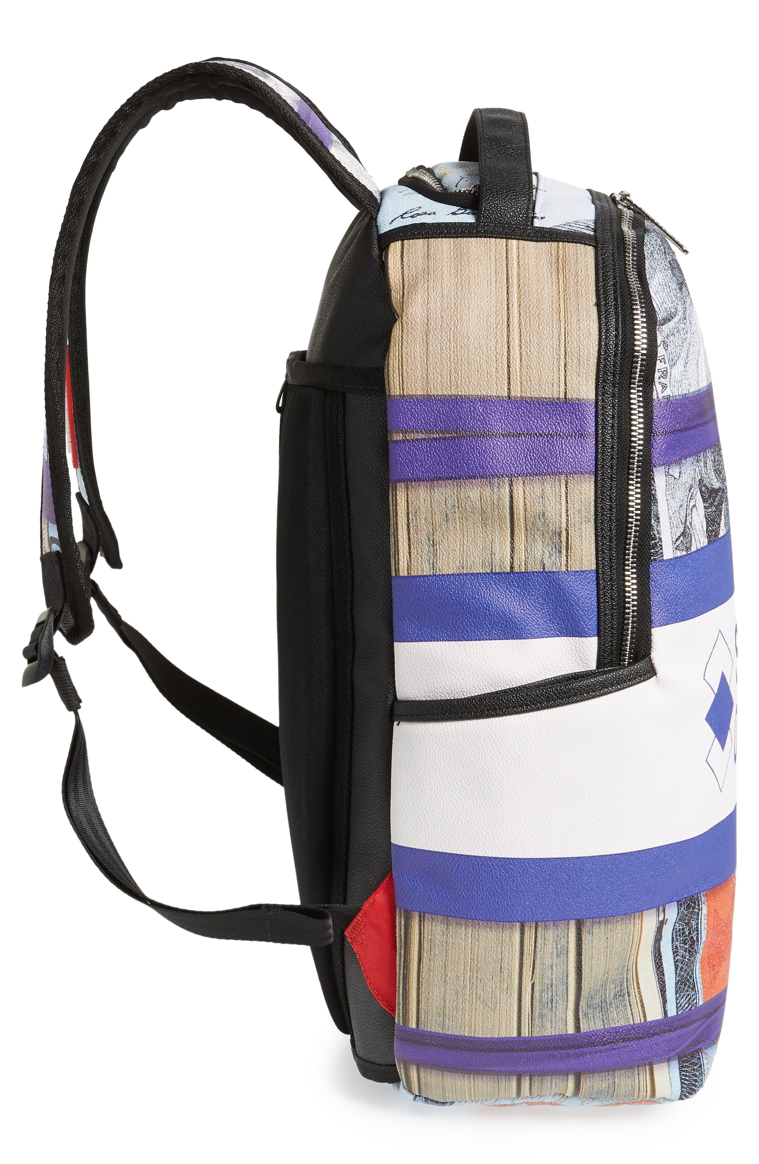 Purple Money Stacks Backpack,                             Alternate thumbnail 5, color,                             Purple