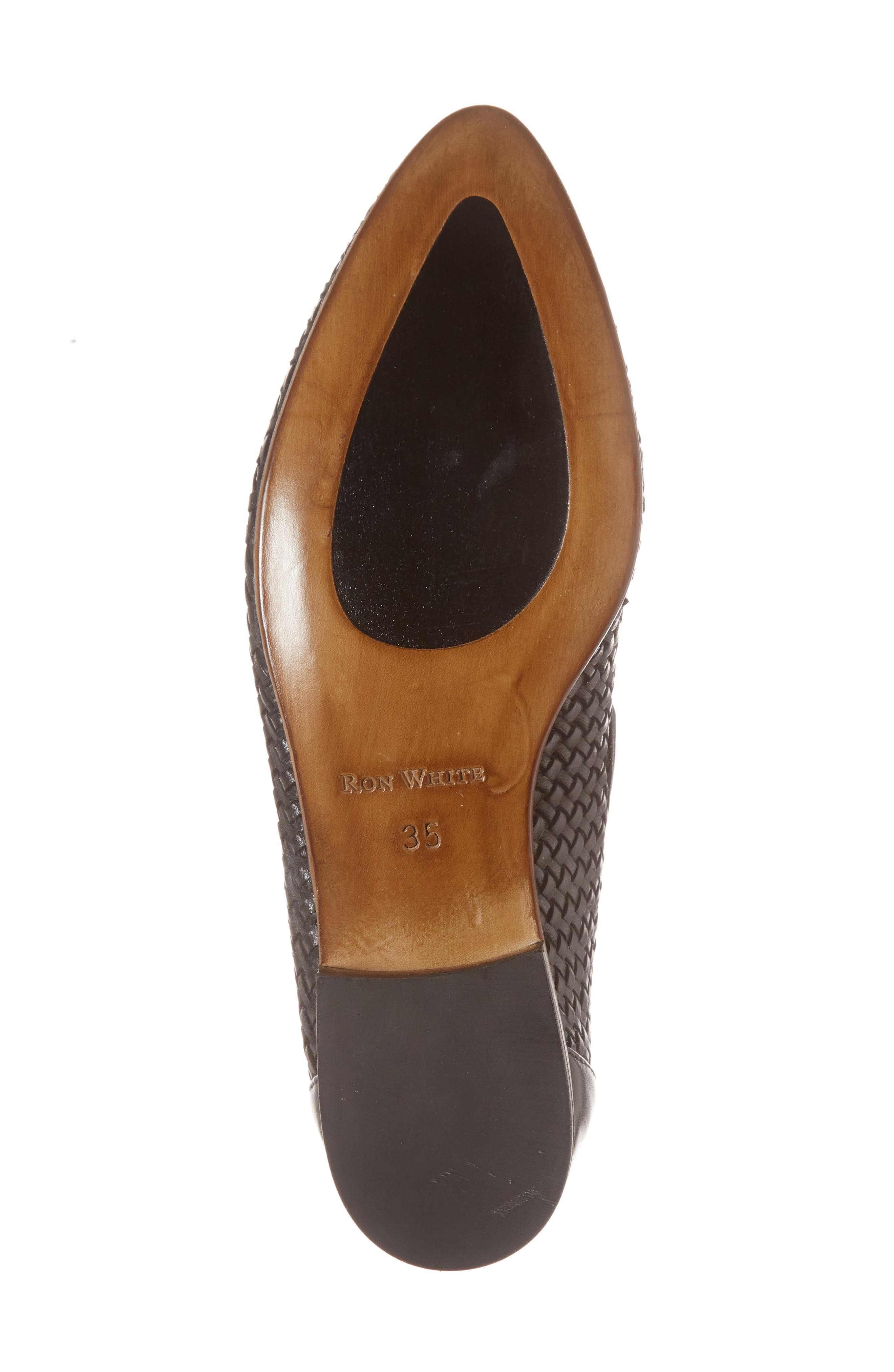 Yara Woven Slip-On Loafer,                             Alternate thumbnail 4, color,                             Onyx Leather
