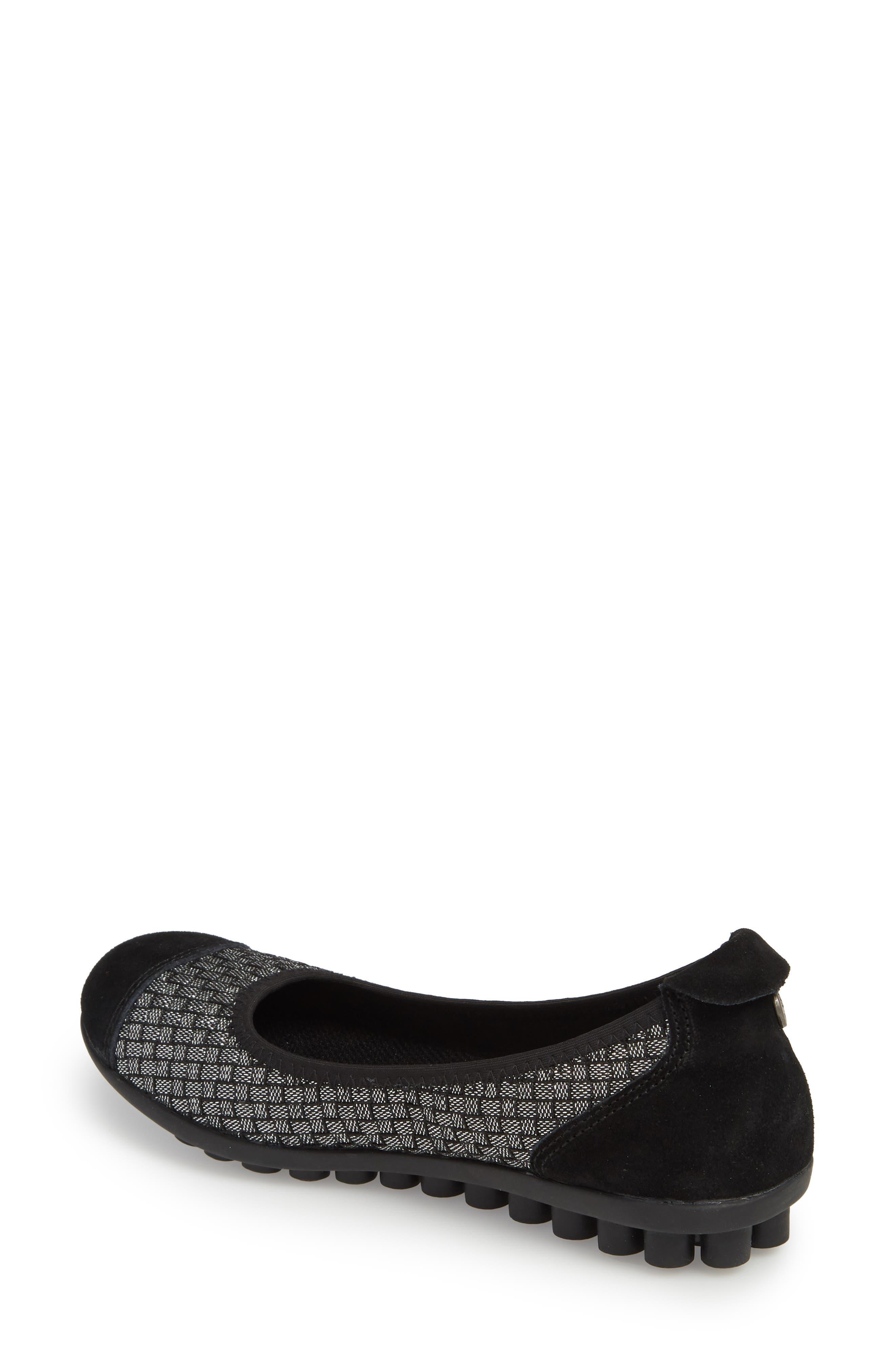 'Bella Me' Woven Flat,                             Alternate thumbnail 2, color,                             Black Shimmer Fabric
