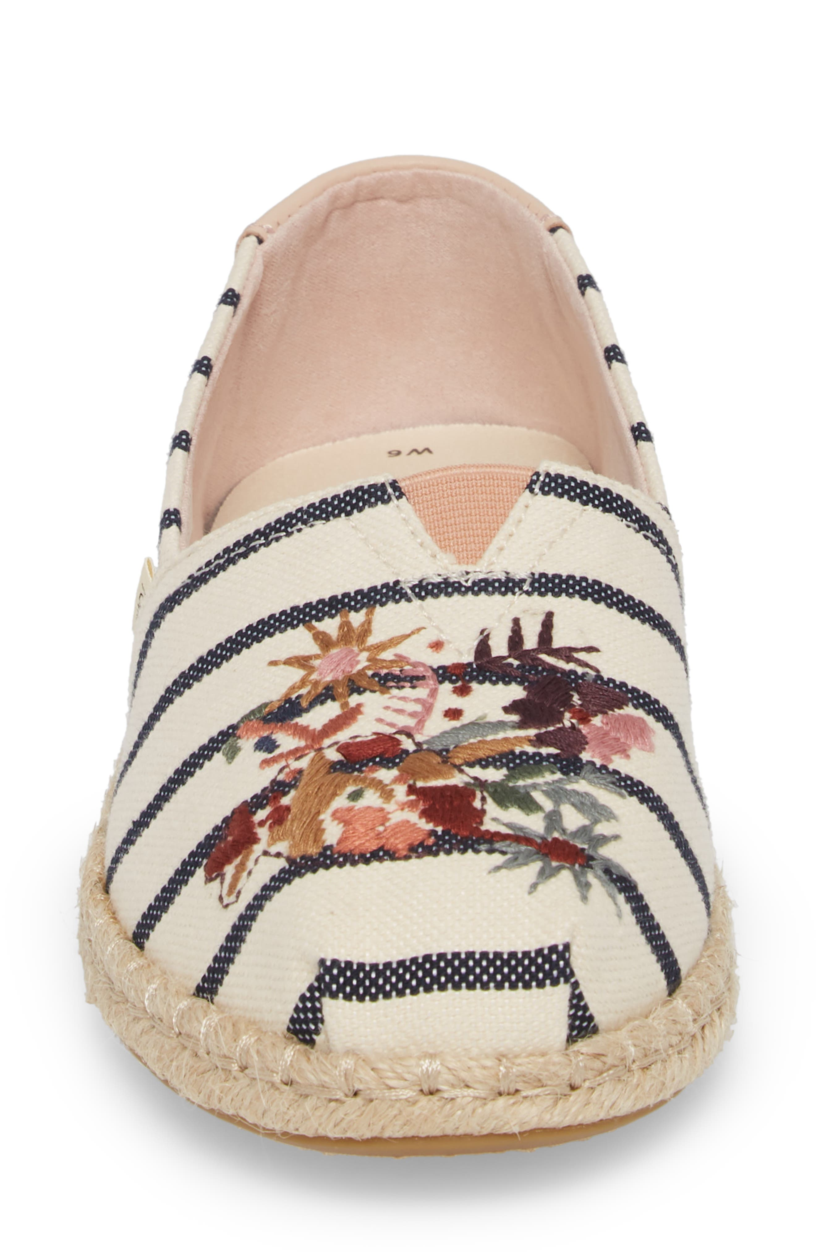 Alpargata Stripe Espadrille,                             Alternate thumbnail 3, color,                             Floral Embroidery Woven Stripe