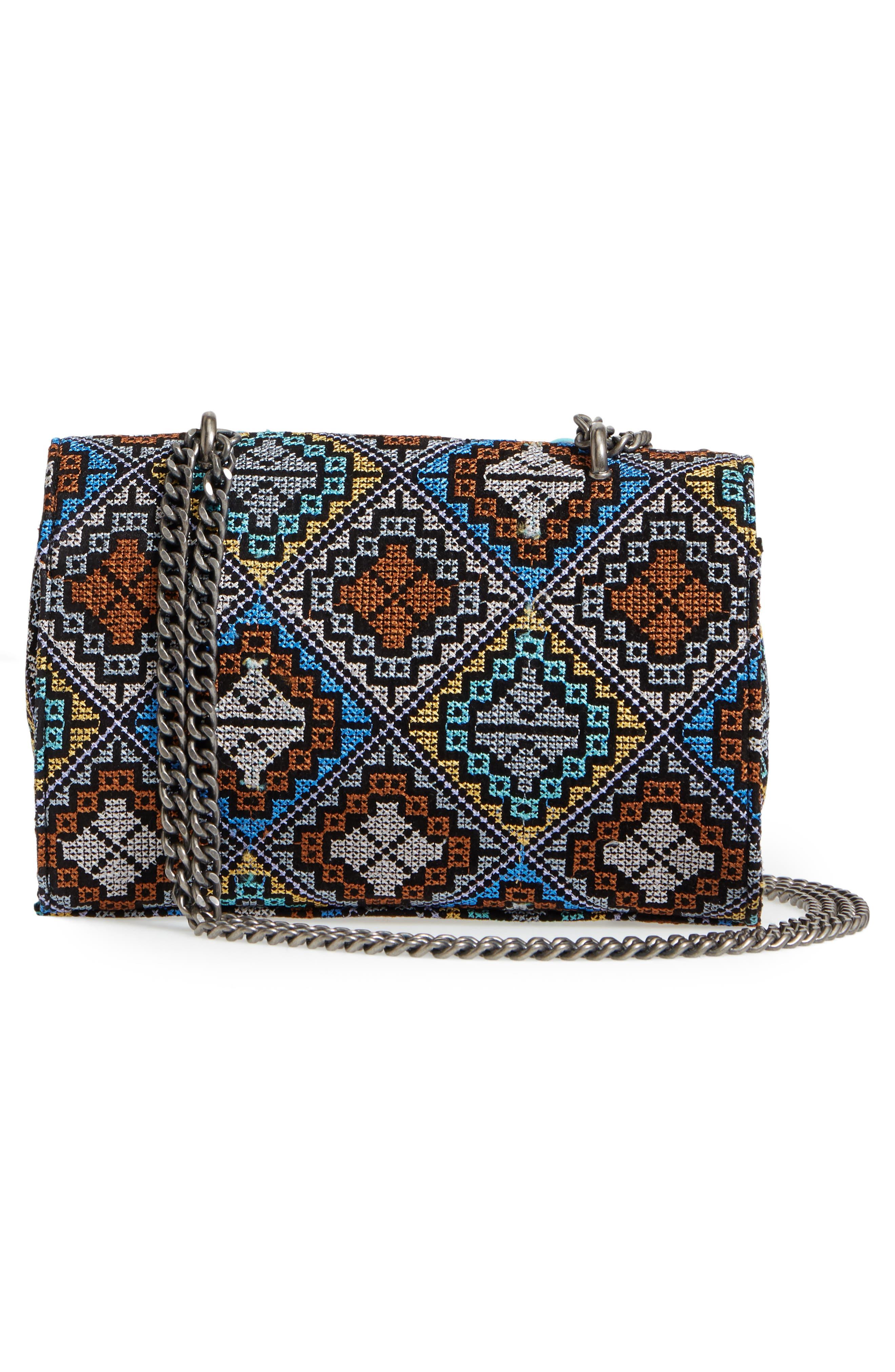 Embroidered Shoulder Bag,                             Alternate thumbnail 3, color,                             Silver Multi