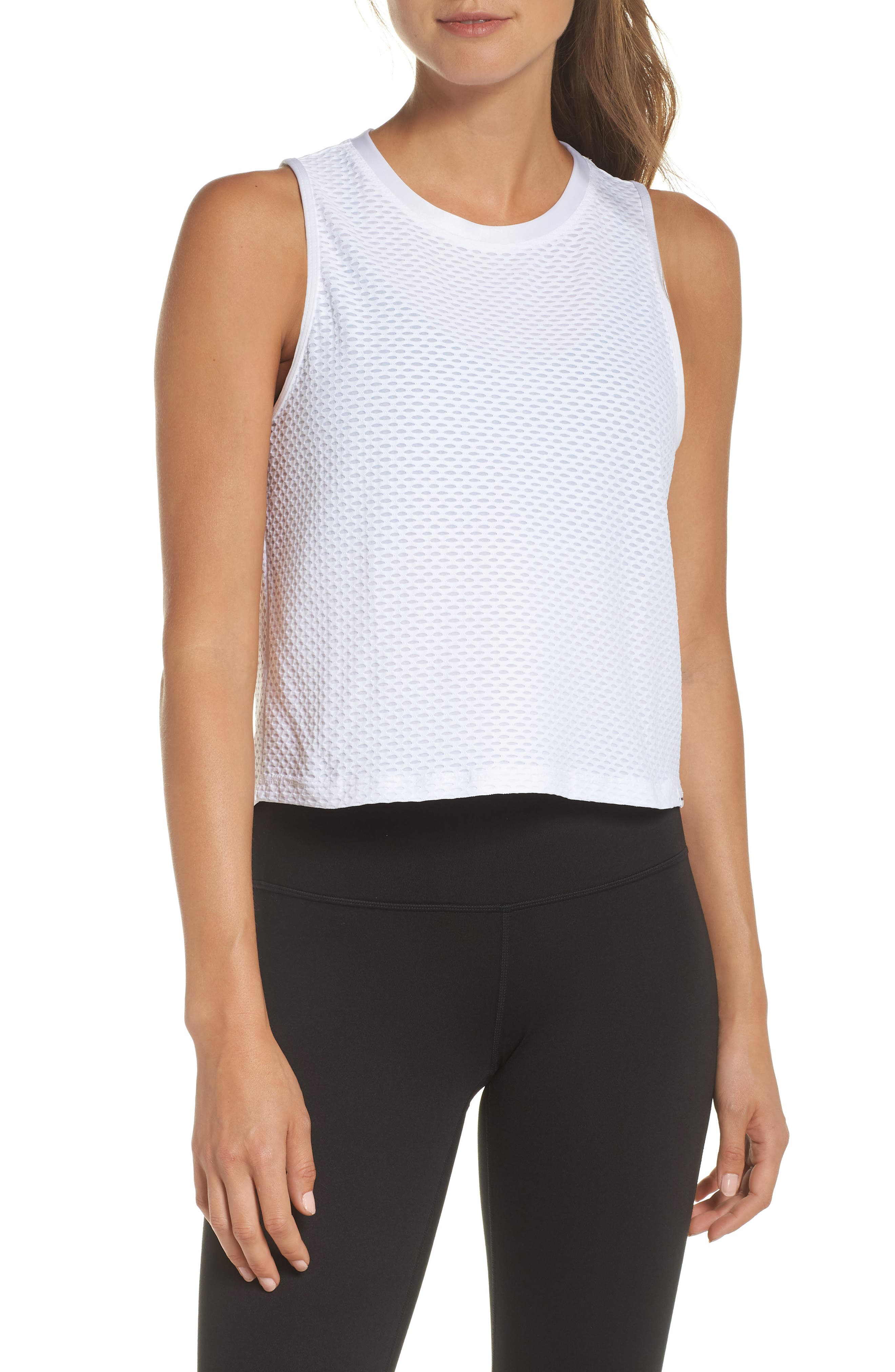Crop Muscle Tee,                             Main thumbnail 1, color,                             White