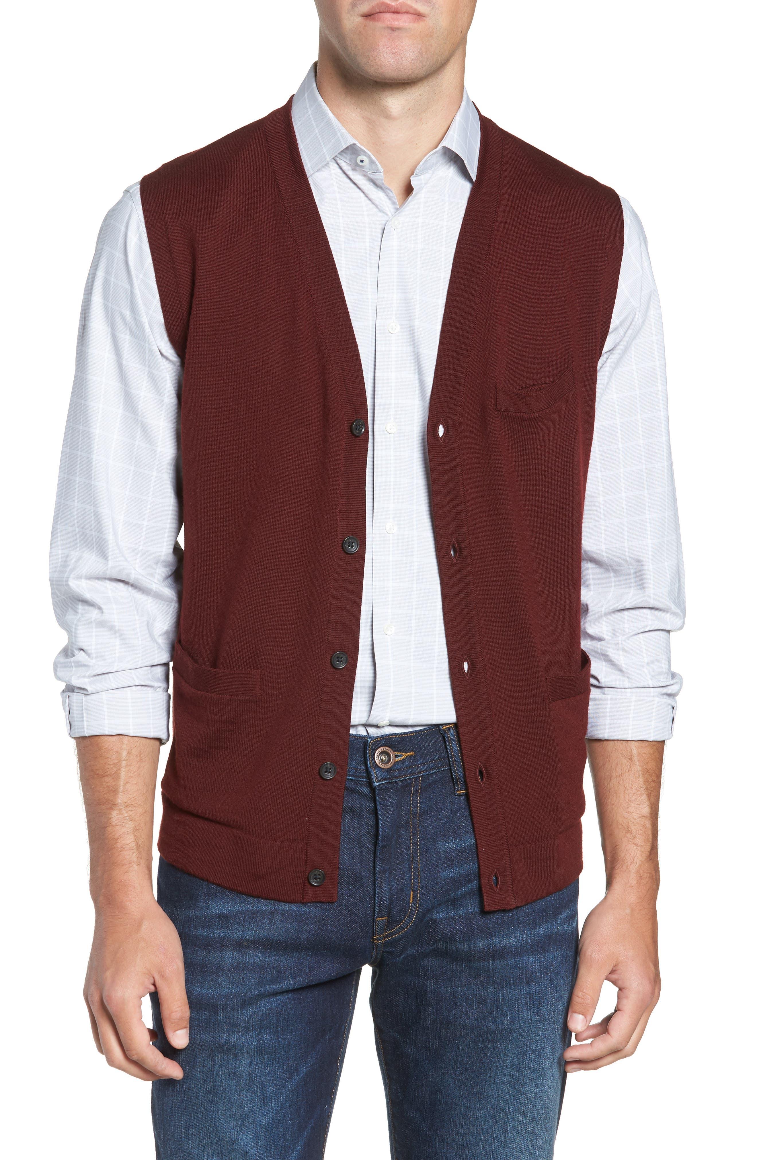 Merino Button Front Sweater Vest,                             Alternate thumbnail 5, color,                             Burgundy Royale