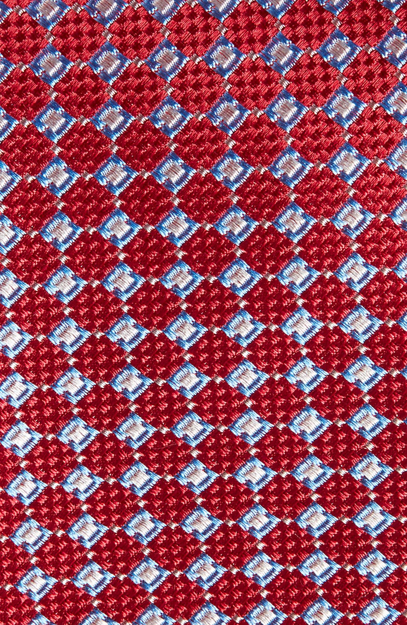 Kitson Geometric Silk Tie,                             Alternate thumbnail 2, color,                             Red