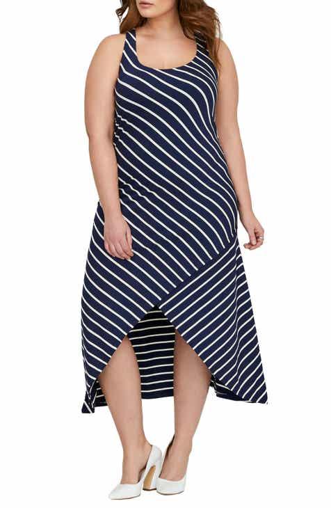Michel Studio Stripe Maxi Dress (Plus Size)