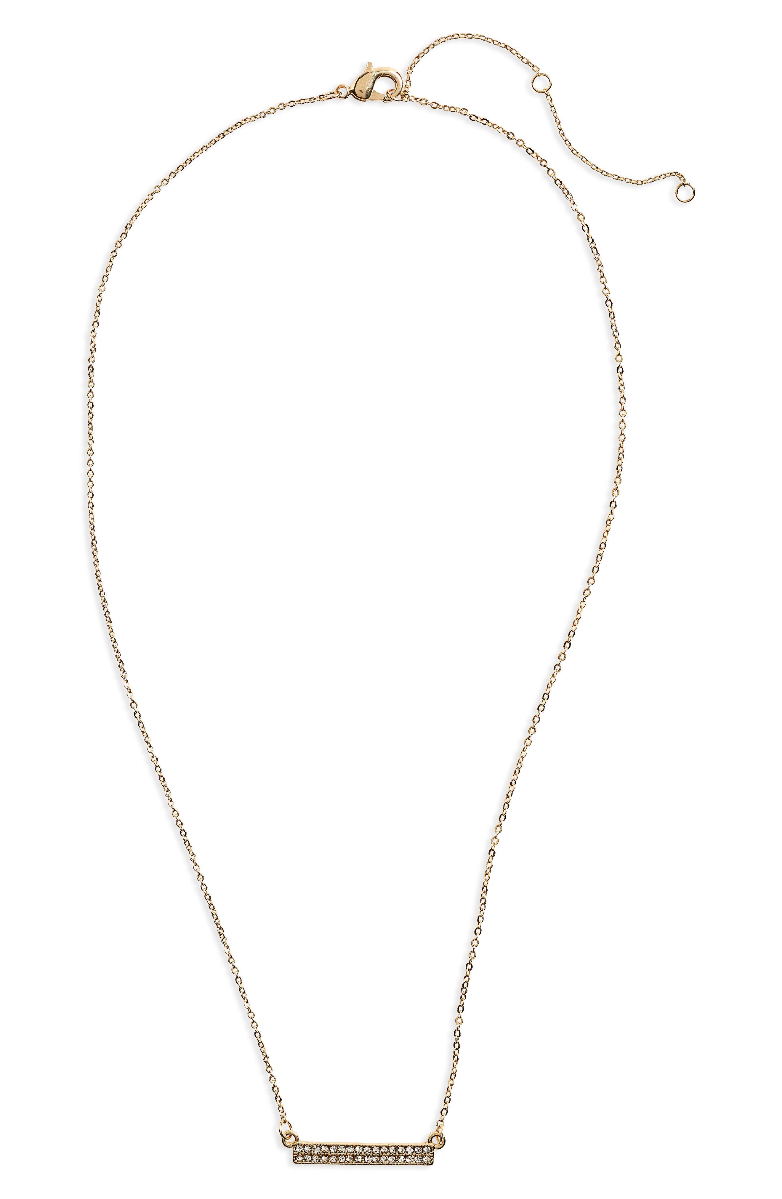 Crystal Bar Pendant Necklace,                             Main thumbnail 1, color,                             Gold/ Crystal