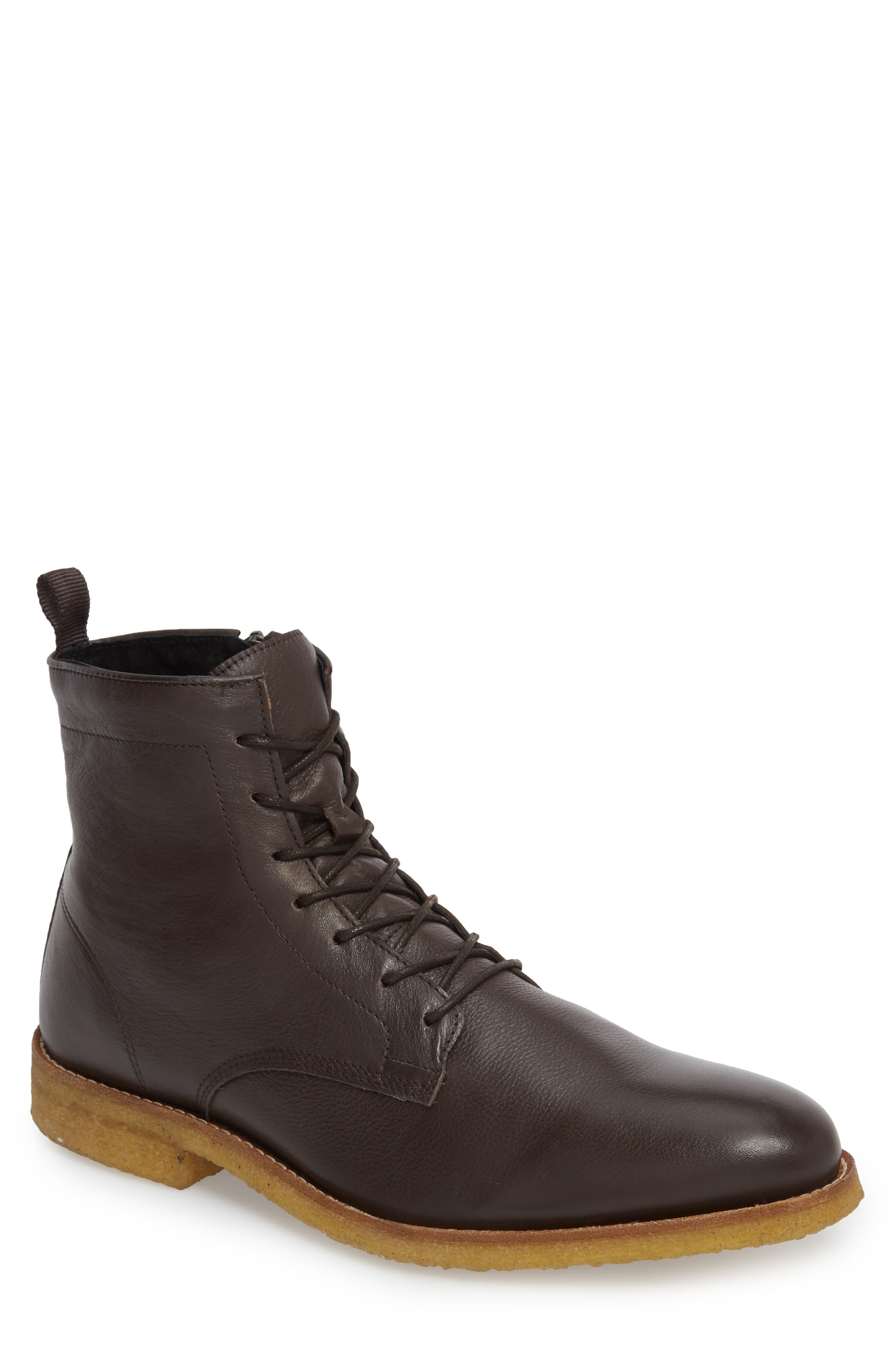 Jonah Plain Toe Boot,                         Main,                         color, Brown Leather