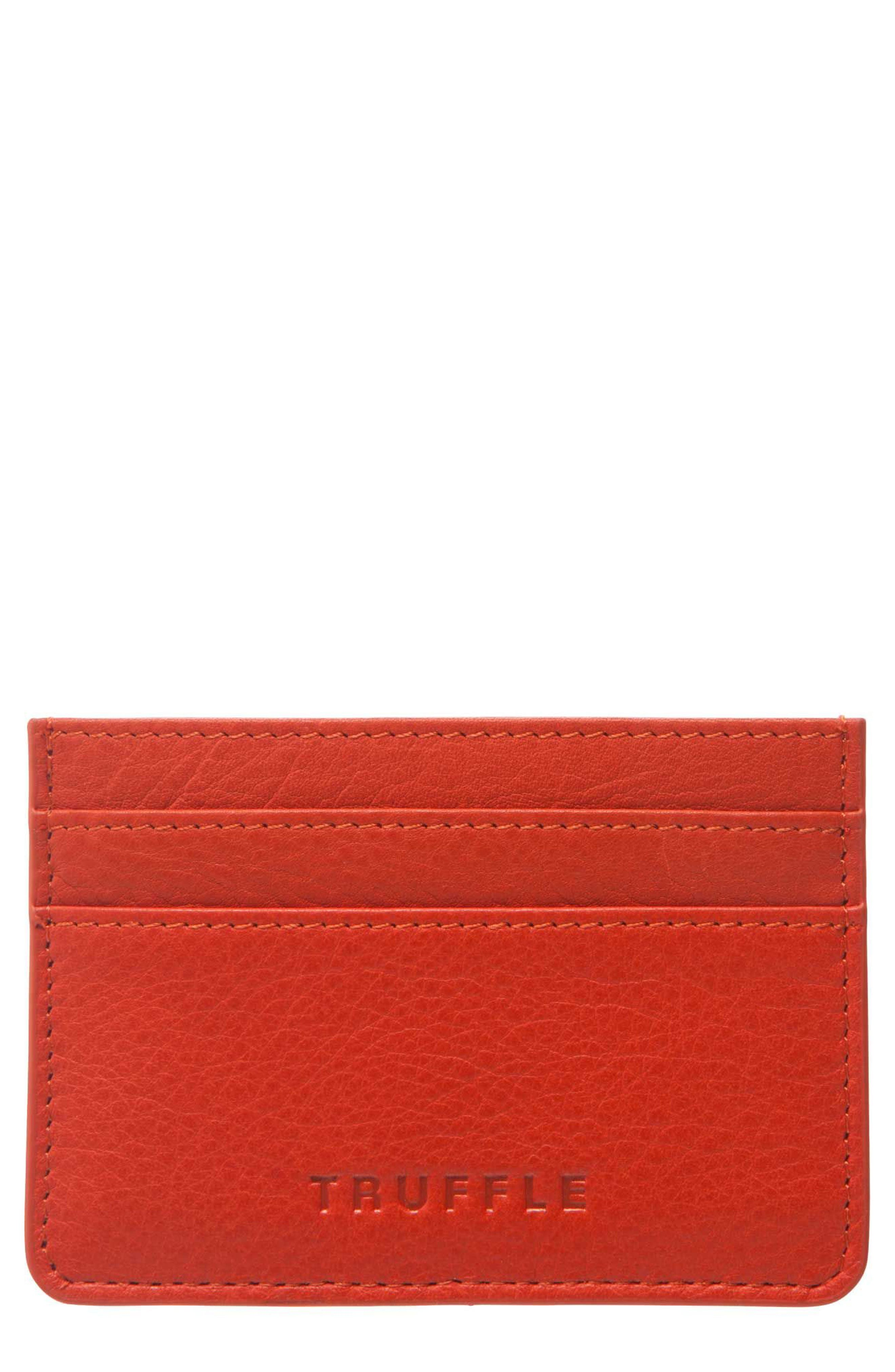 Privacy Leather Card Case,                             Main thumbnail 1, color,                             Poppy