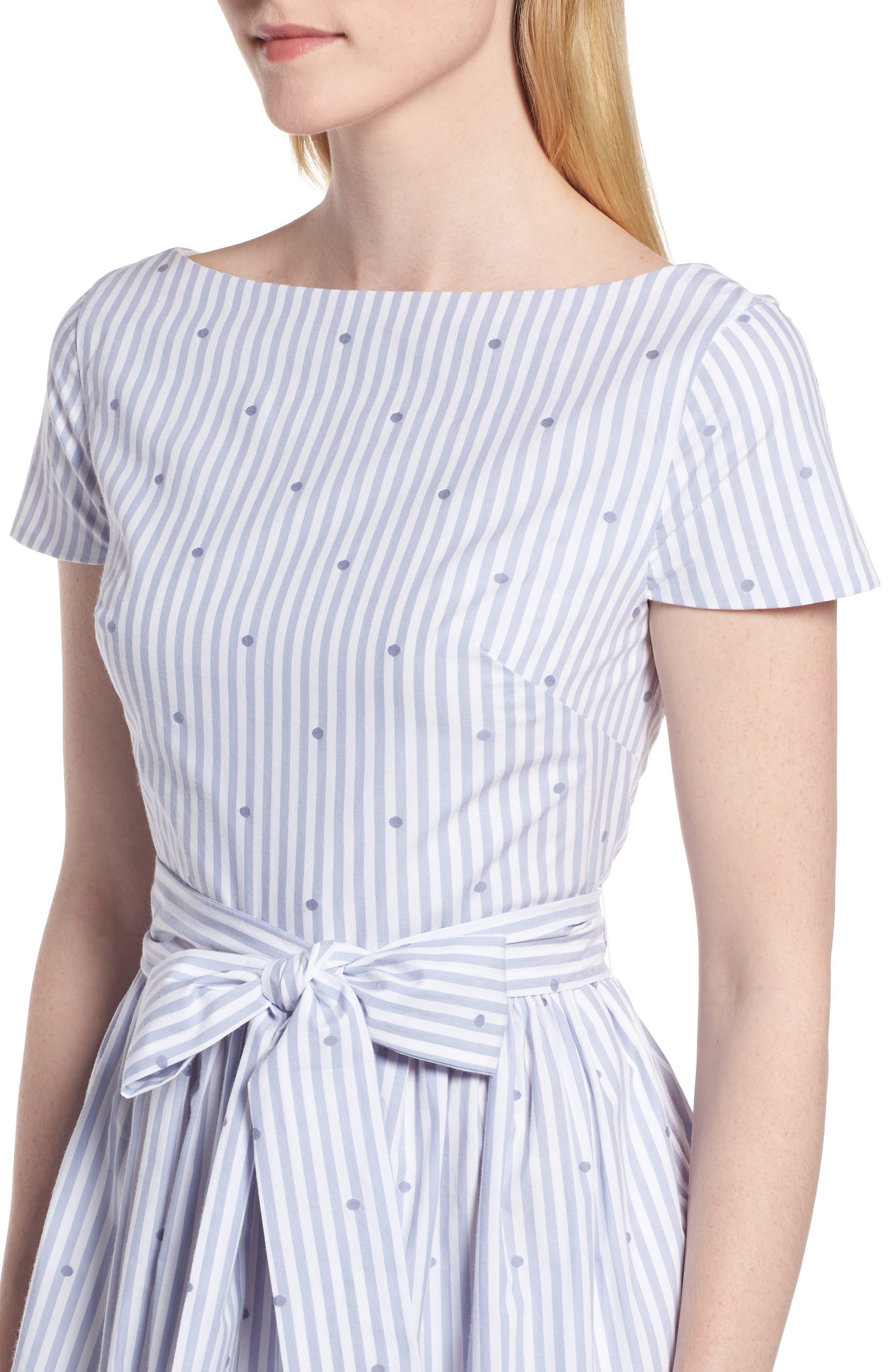Stripe & Dot Cotton Dress,                             Alternate thumbnail 4, color,                             Eve Dot Stripe