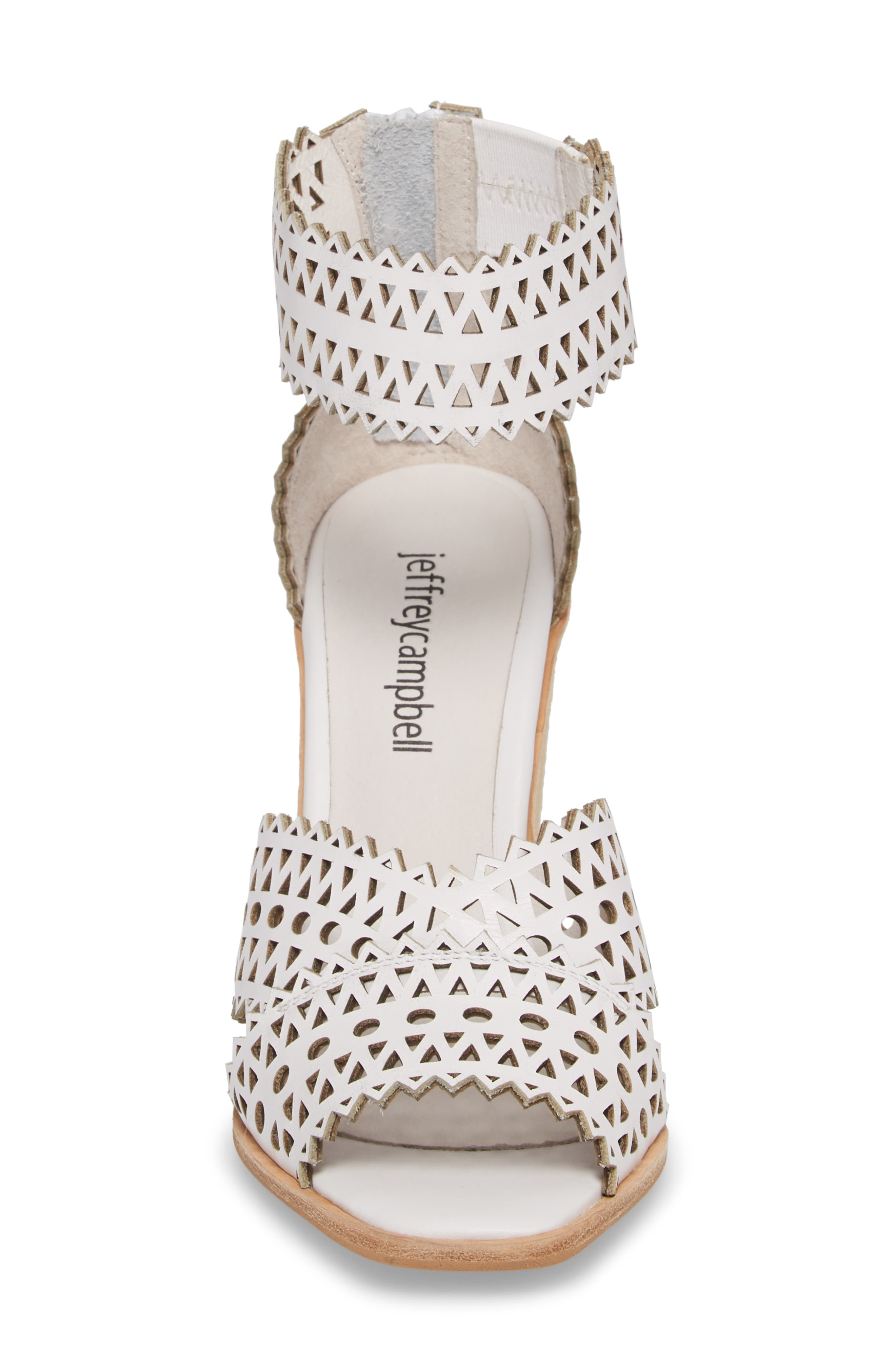 Besante Perforated Wedge Sandal,                             Alternate thumbnail 4, color,                             White