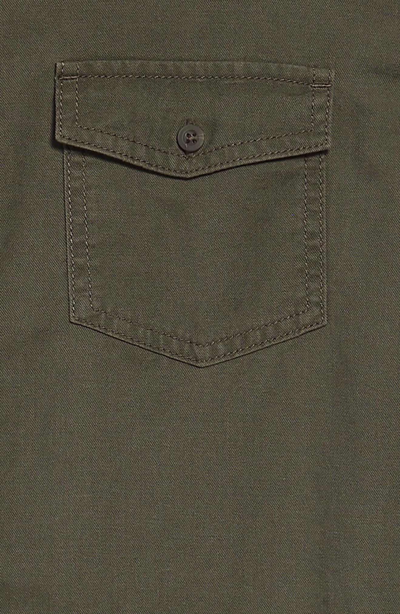 Frayed Hem Sleeveless Shirtdress,                             Alternate thumbnail 3, color,                             Olive Sarma