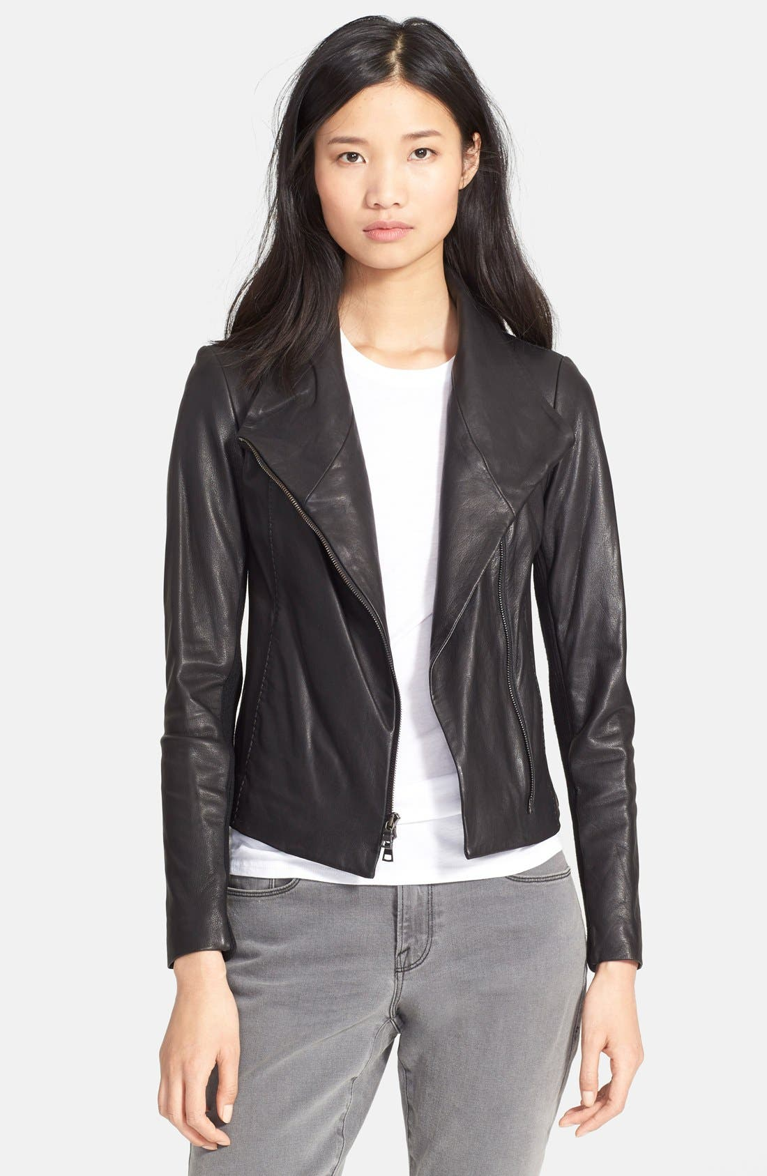 Main Image - Vince Leather Scuba Jacket