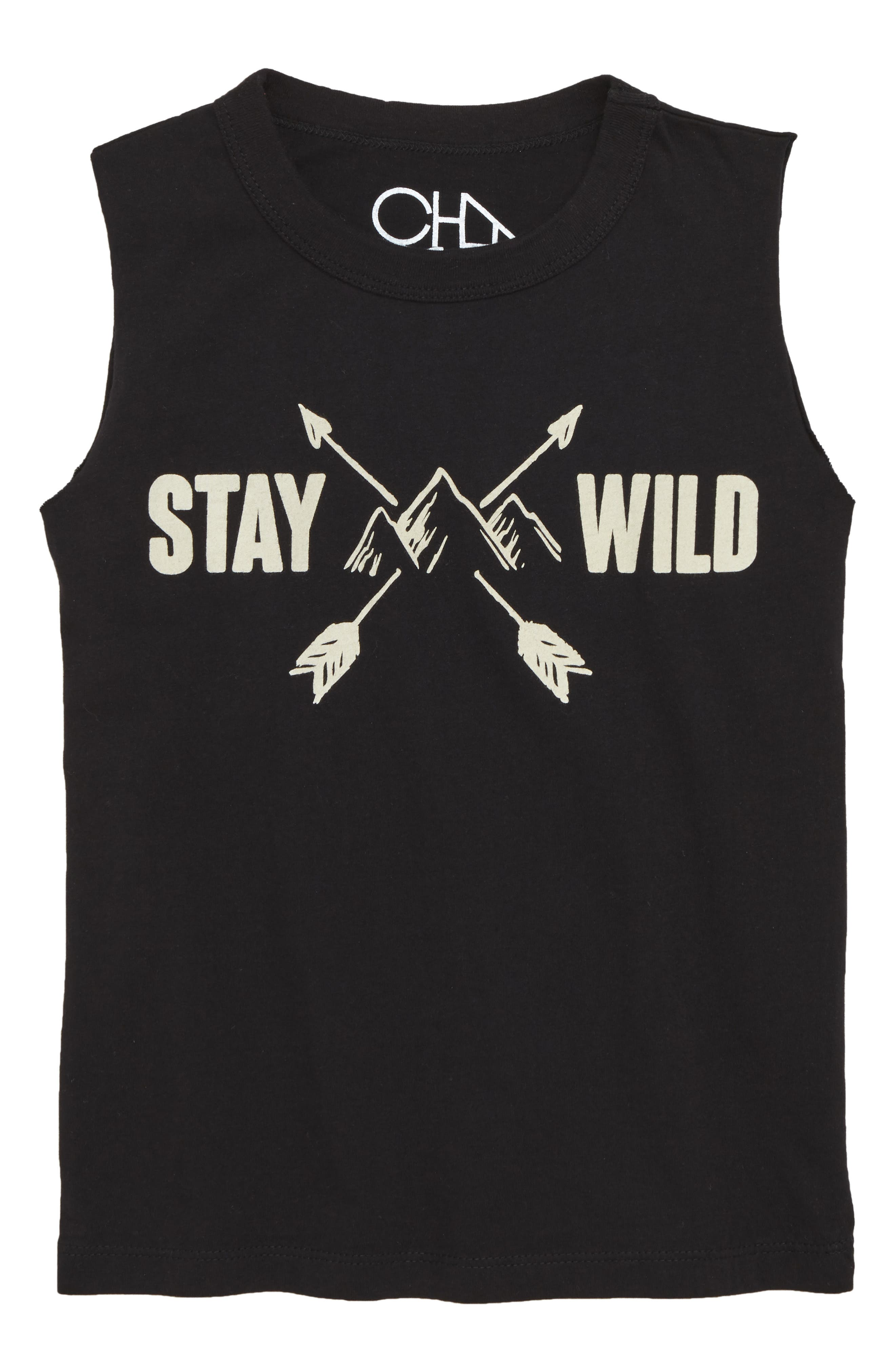 Stay Wild Graphic Tank,                             Main thumbnail 1, color,                             Black