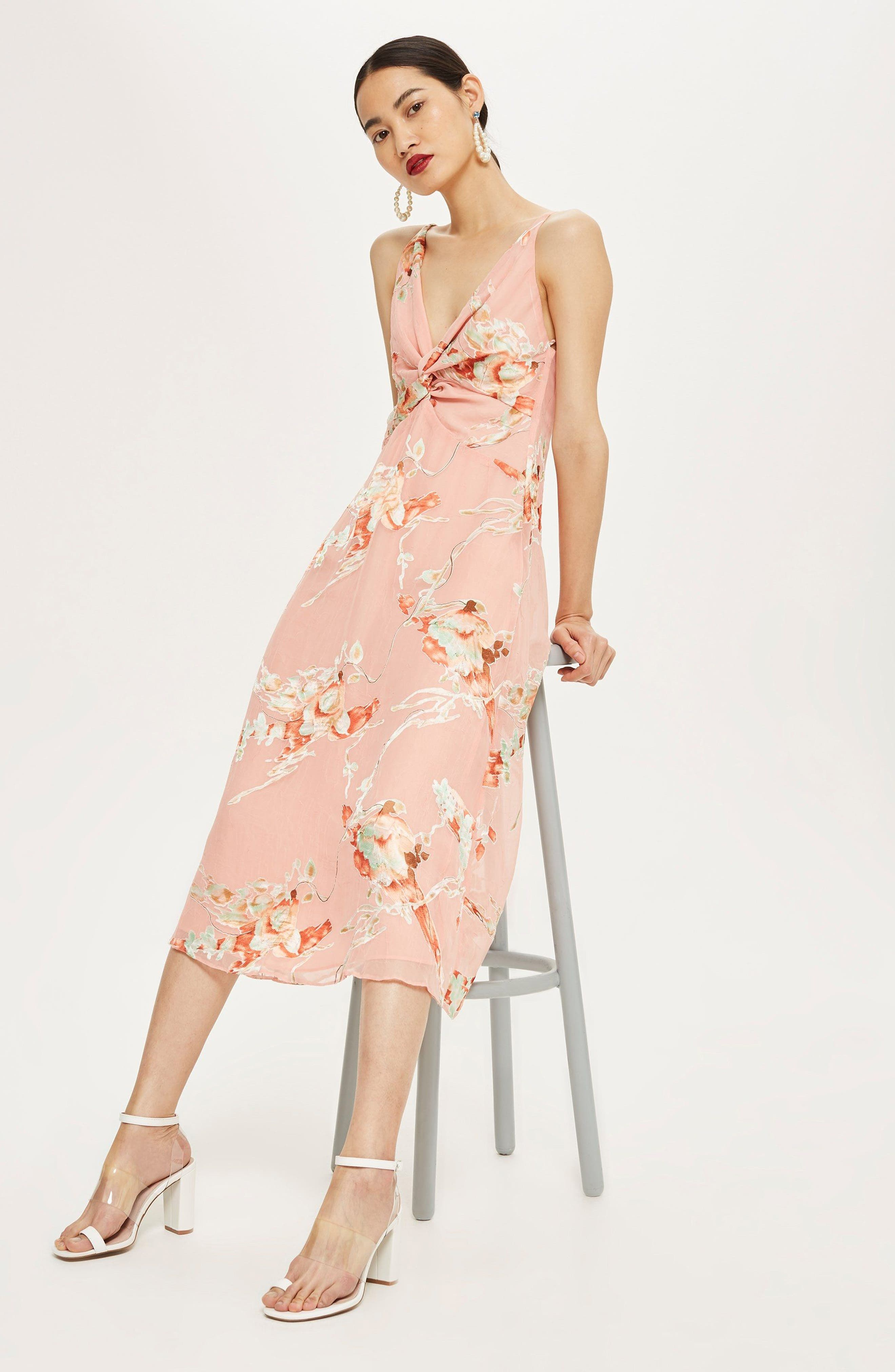 Twist Front Floral Midi Dress by Topshop