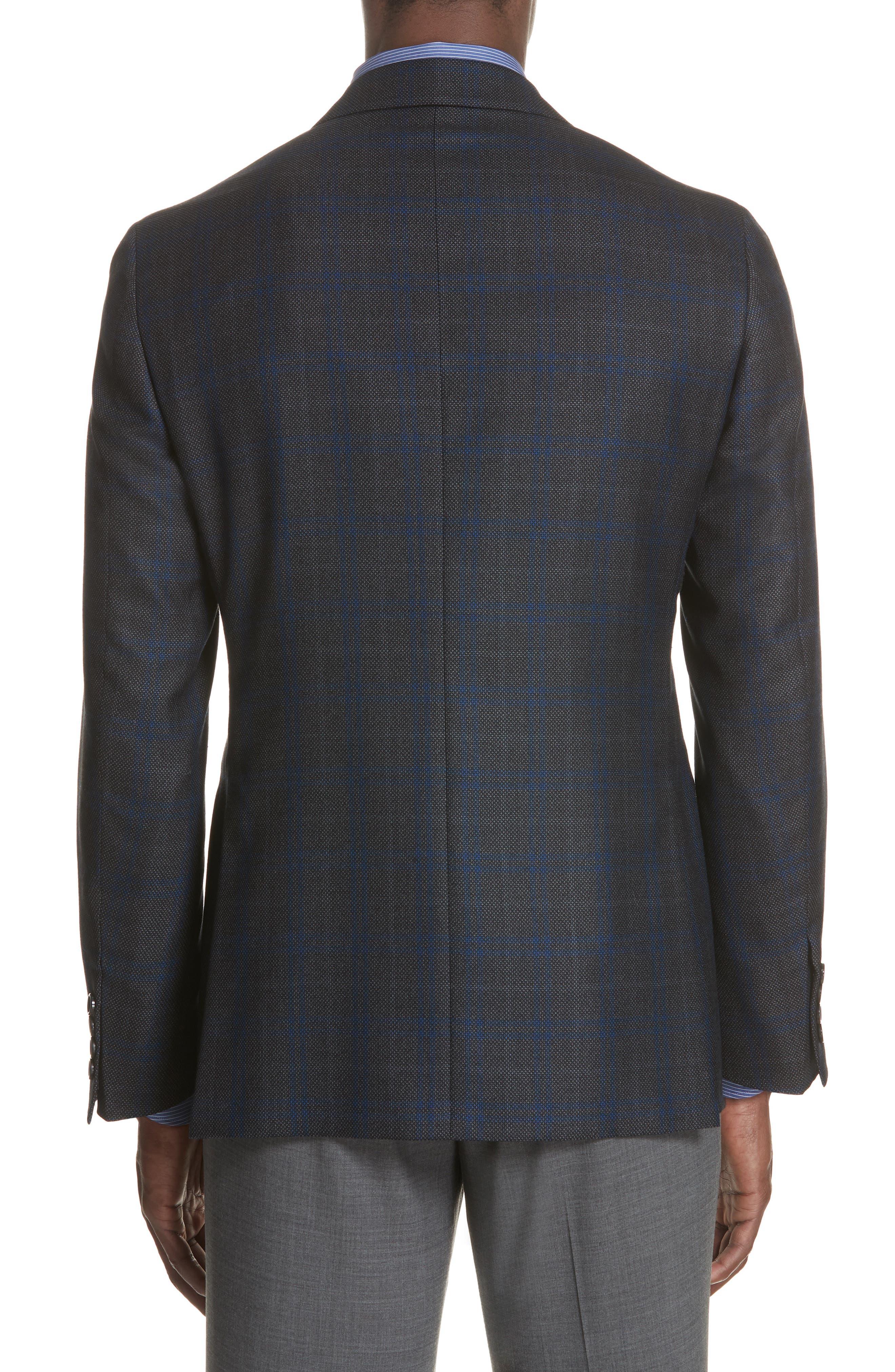 Classic Fit Plaid Silk & Wool Sport Coat,                             Alternate thumbnail 2, color,                             Charcoal