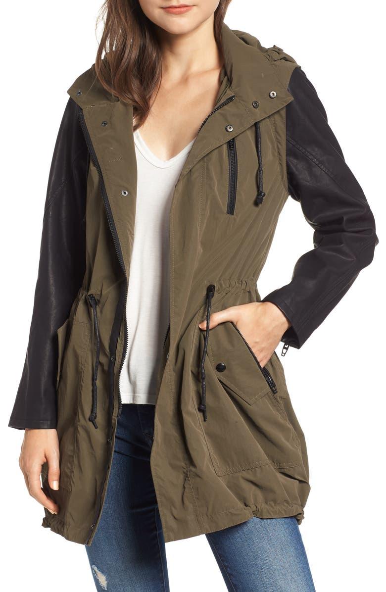 Mixed Media Hooded Jacket