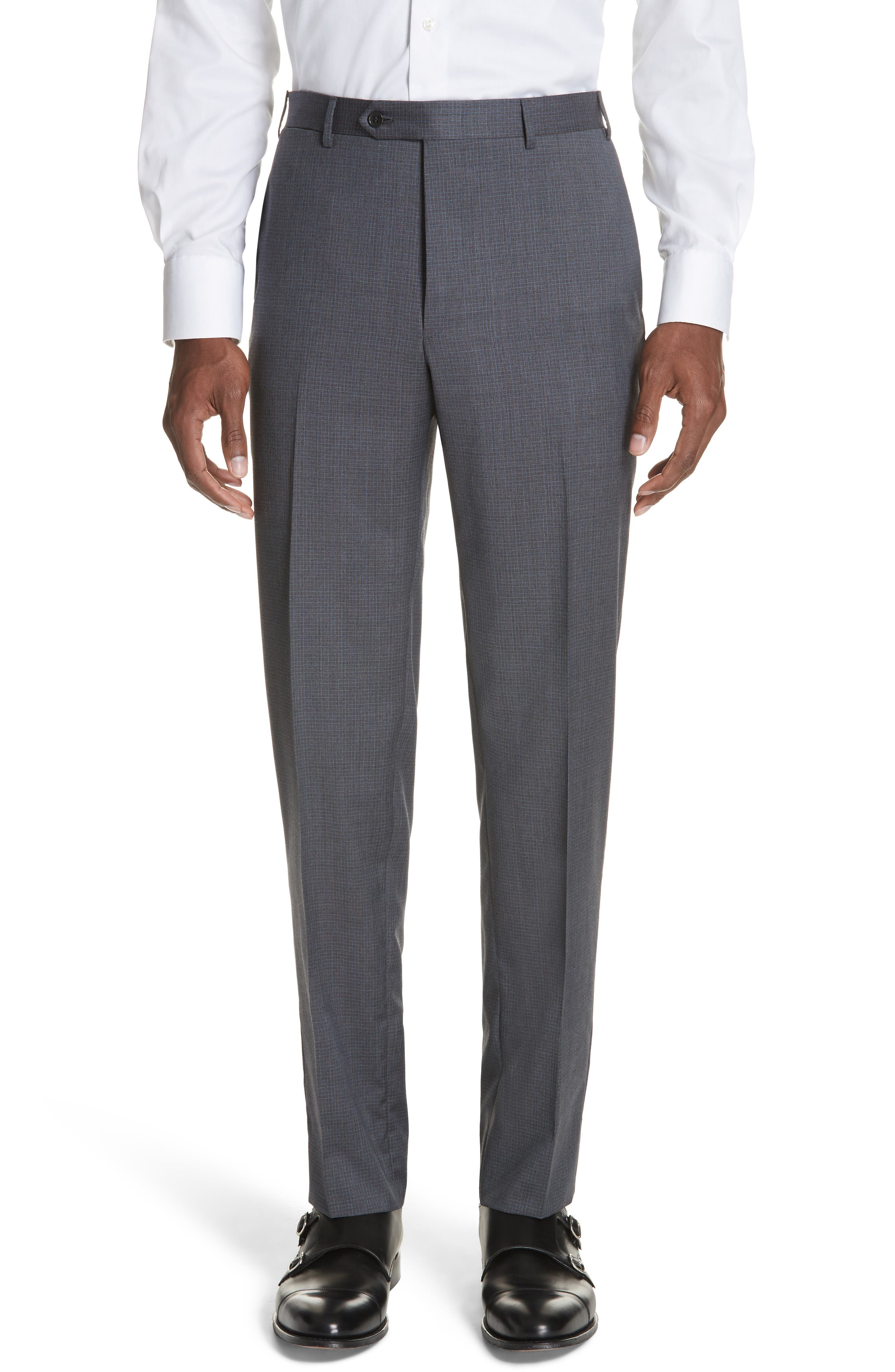 Classic Fit Check Wool Suit,                             Alternate thumbnail 6, color,                             Grey