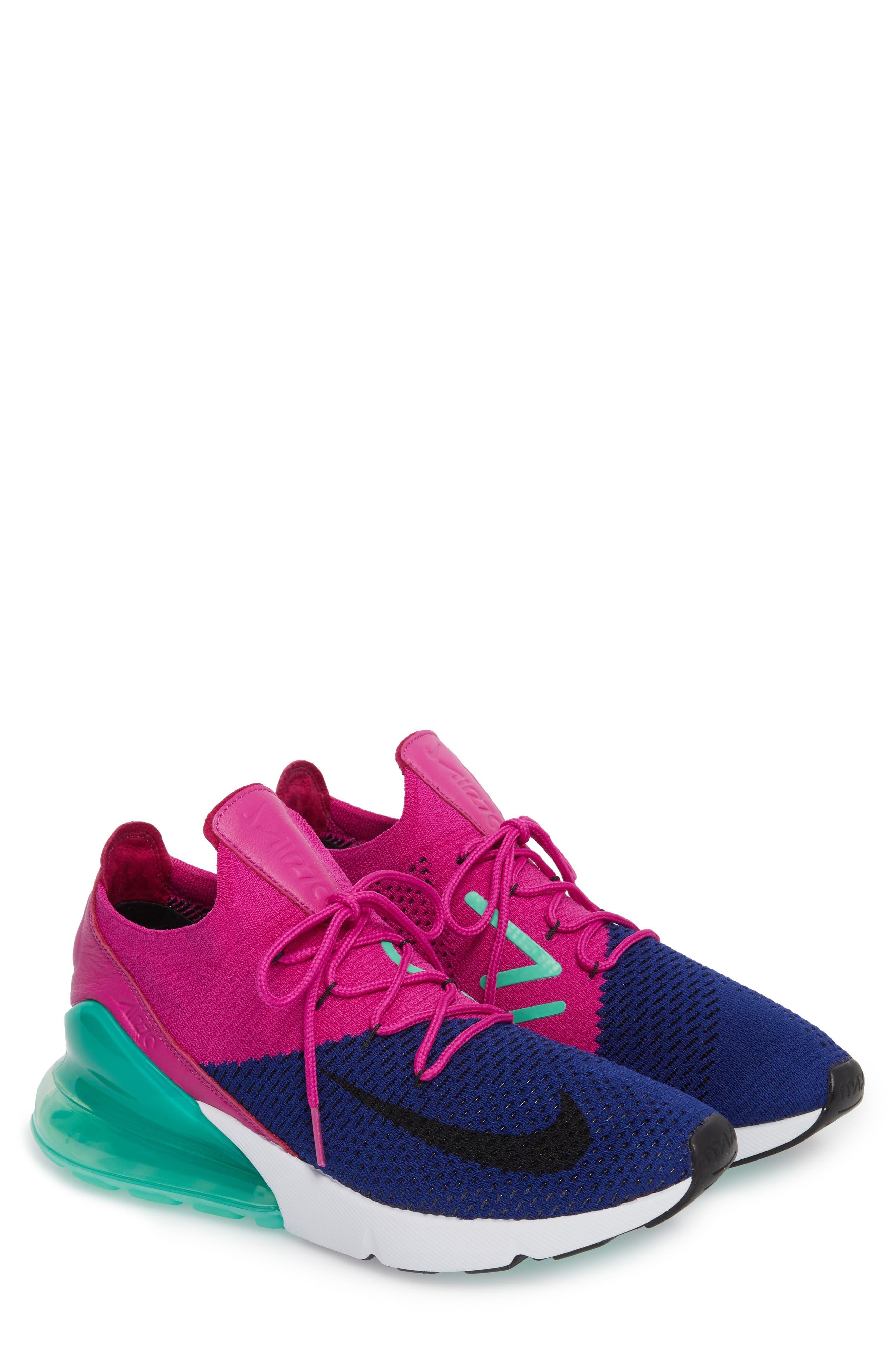 Air Max 270 Flyknit Sneaker,                             Alternate thumbnail 3, color,                             Deep Royal Blue/ Black