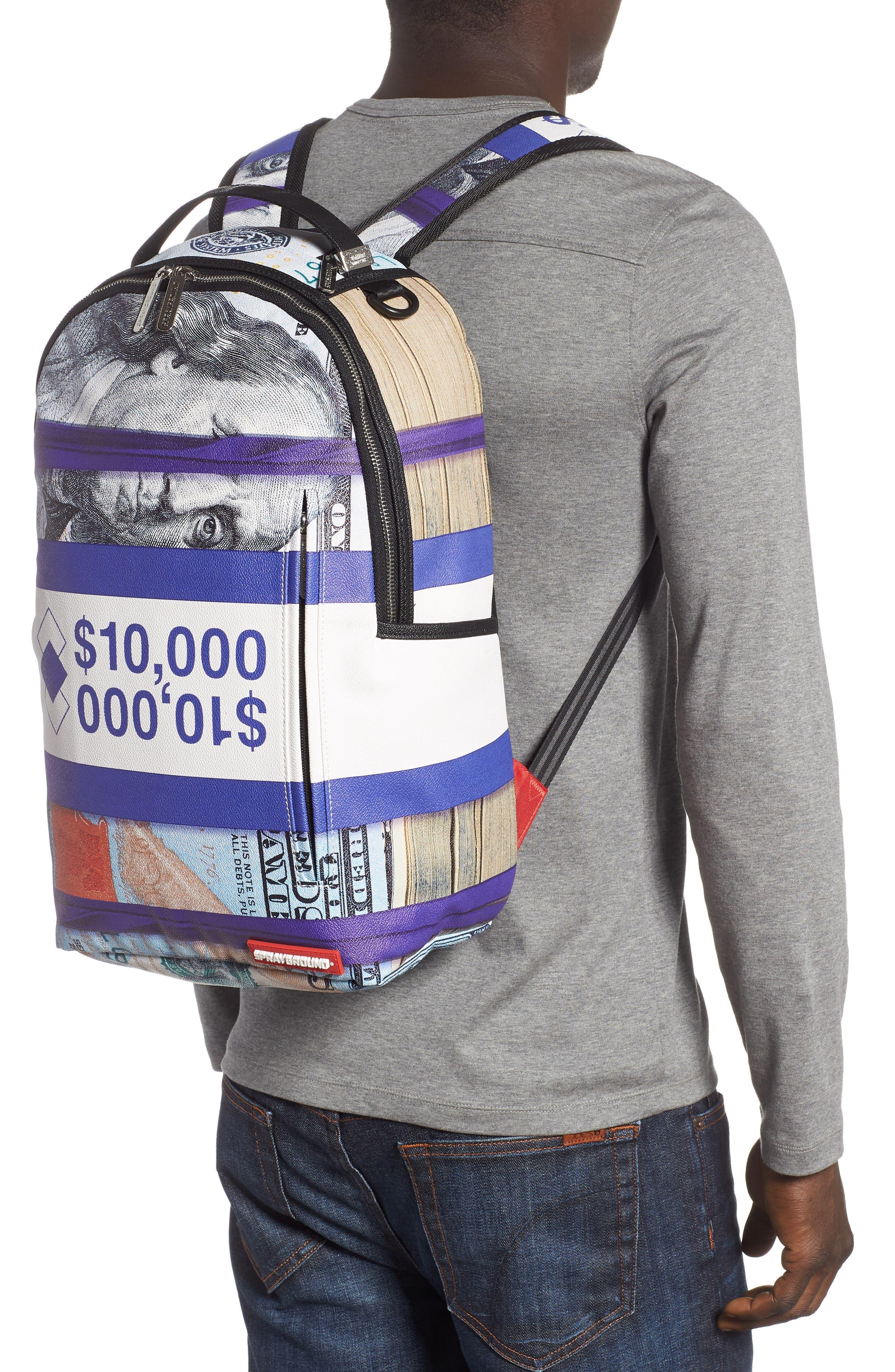 Purple Money Stacks Backpack,                             Alternate thumbnail 2, color,                             Purple