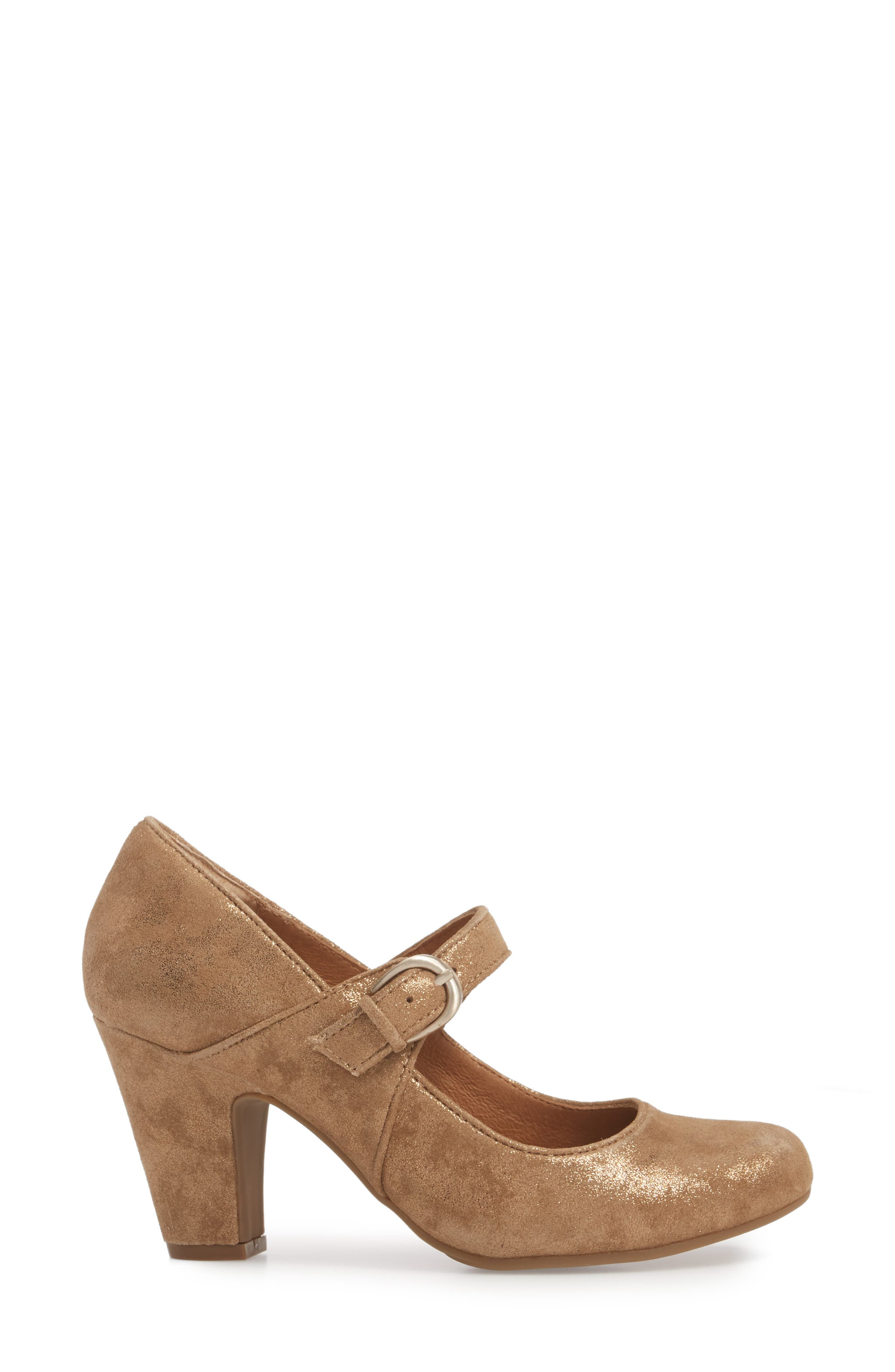 'Miranda' Mary Jane Pump,                             Alternate thumbnail 4, color,                             Gold Distressed Foil Suede