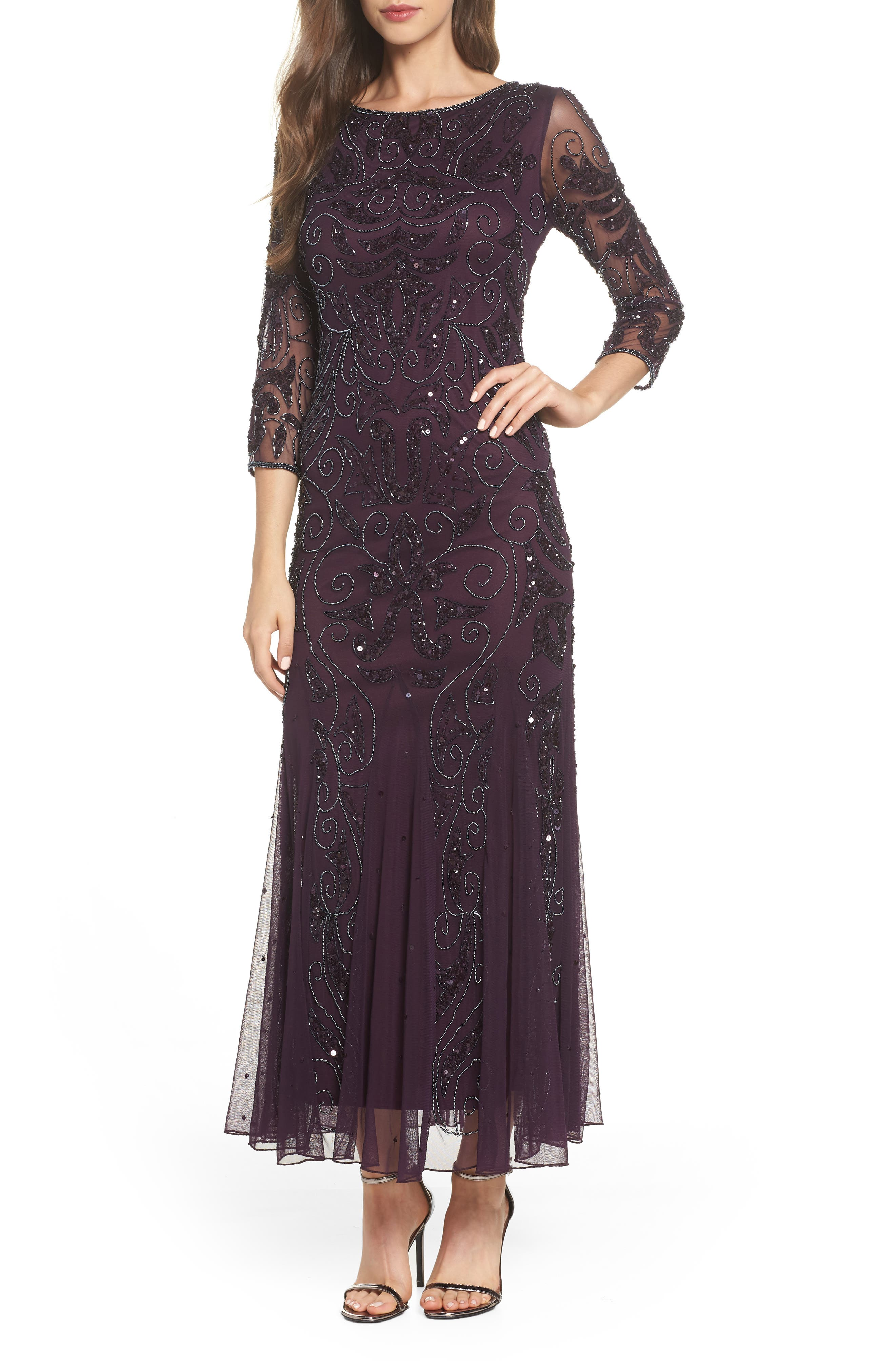 Embellished Mesh Gown,                         Main,                         color, Wine/ Gunmetal