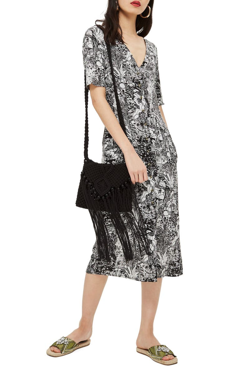 Monochrome Landscape Midi Dress