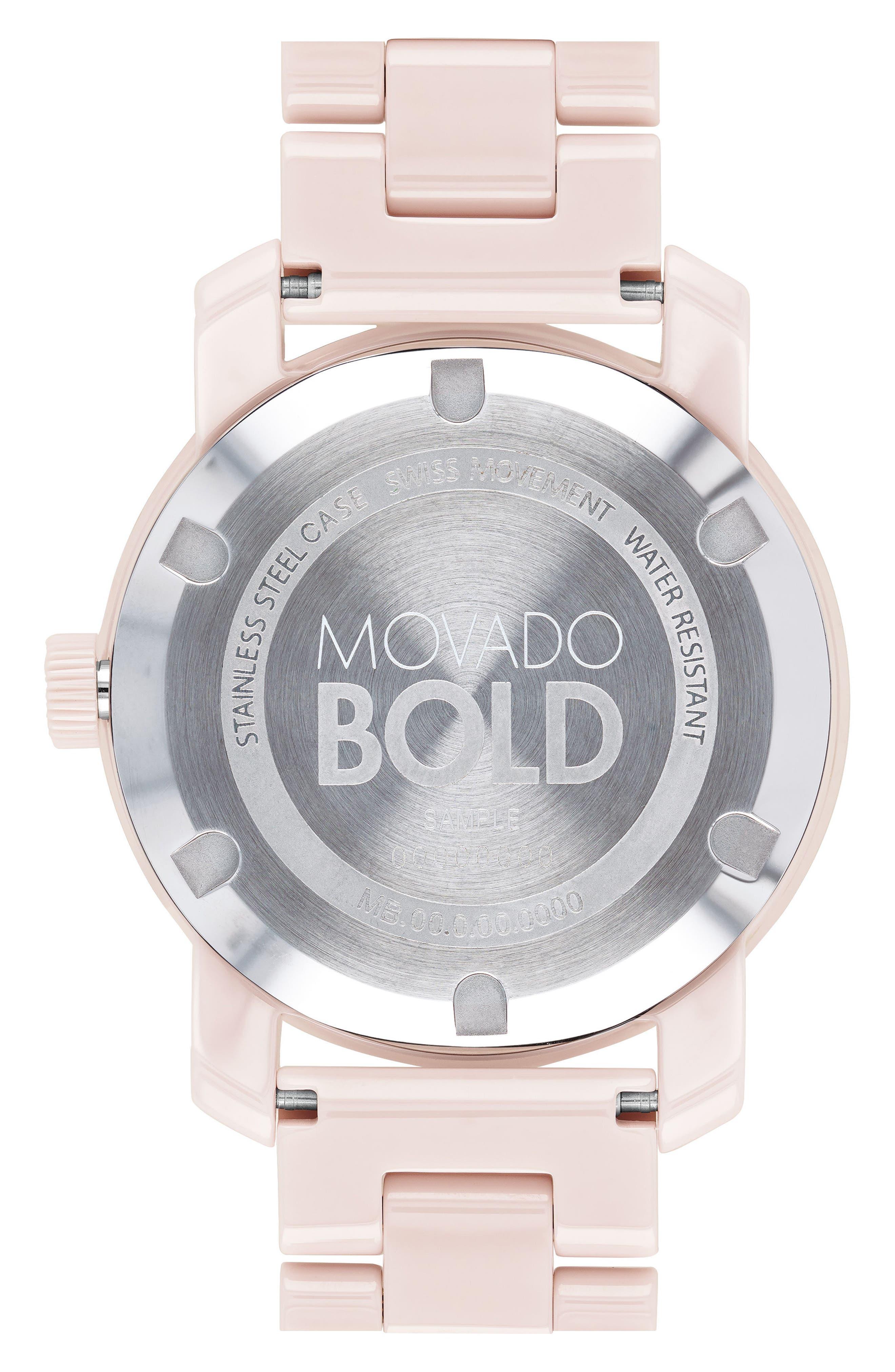 Bold Ceramic Bracelet Watch, 36mm,                             Alternate thumbnail 2, color,                             Blush Pink