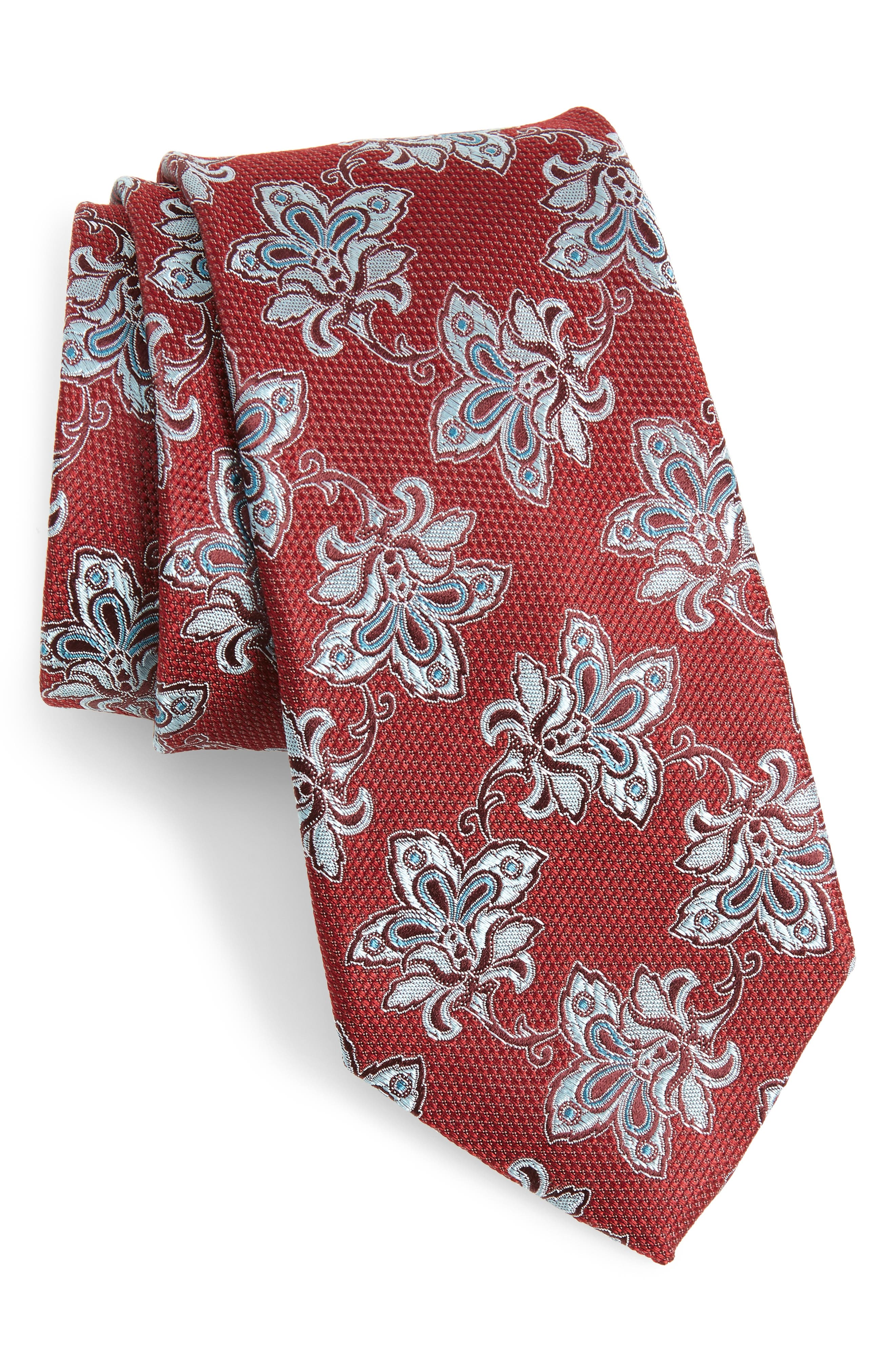 Shaw Floral Silk Tie,                         Main,                         color, Red