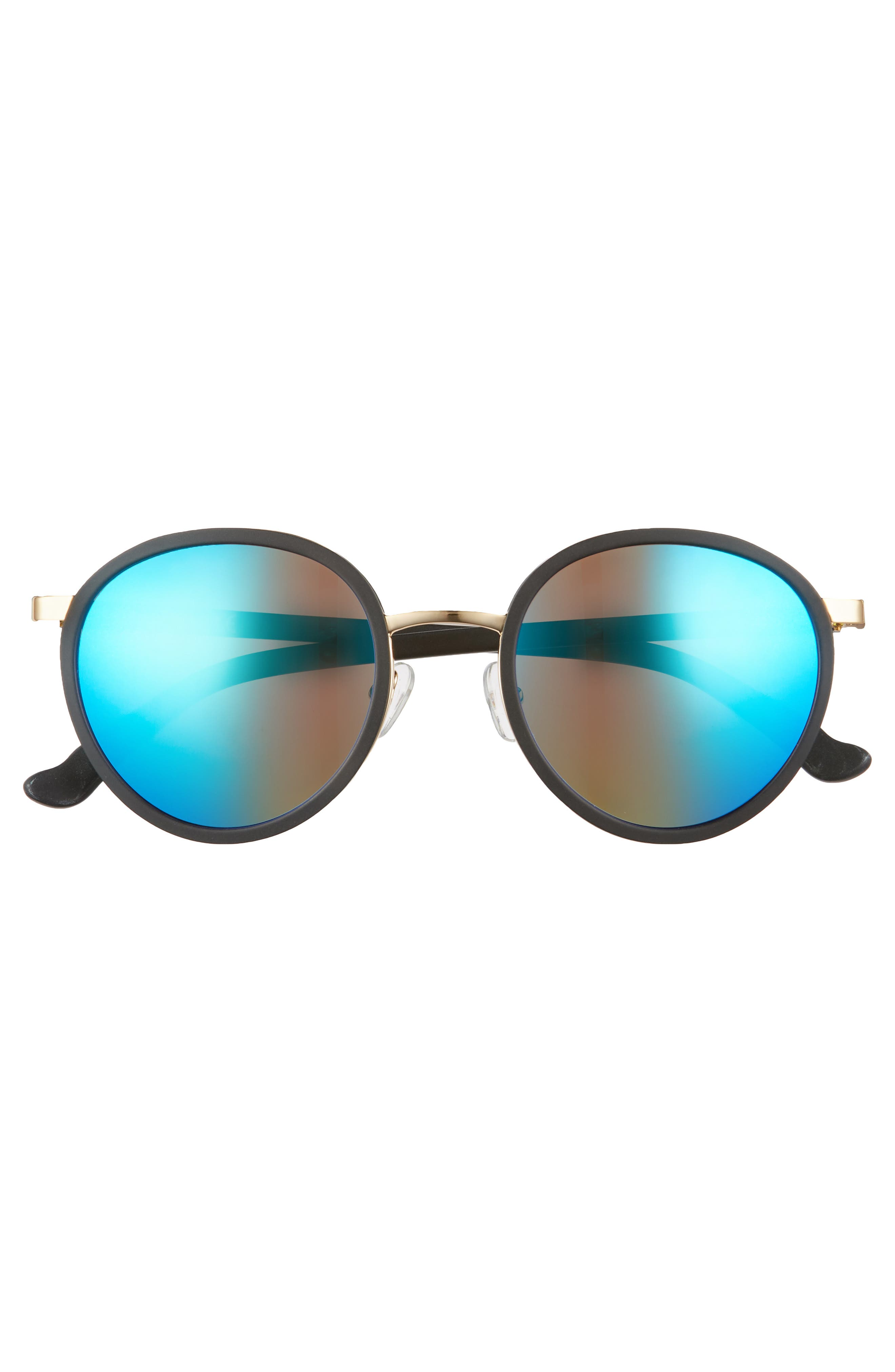 Cabo 50mm Polarized Round Sunglasses,                             Alternate thumbnail 3, color,                             Charcoal/ Blue