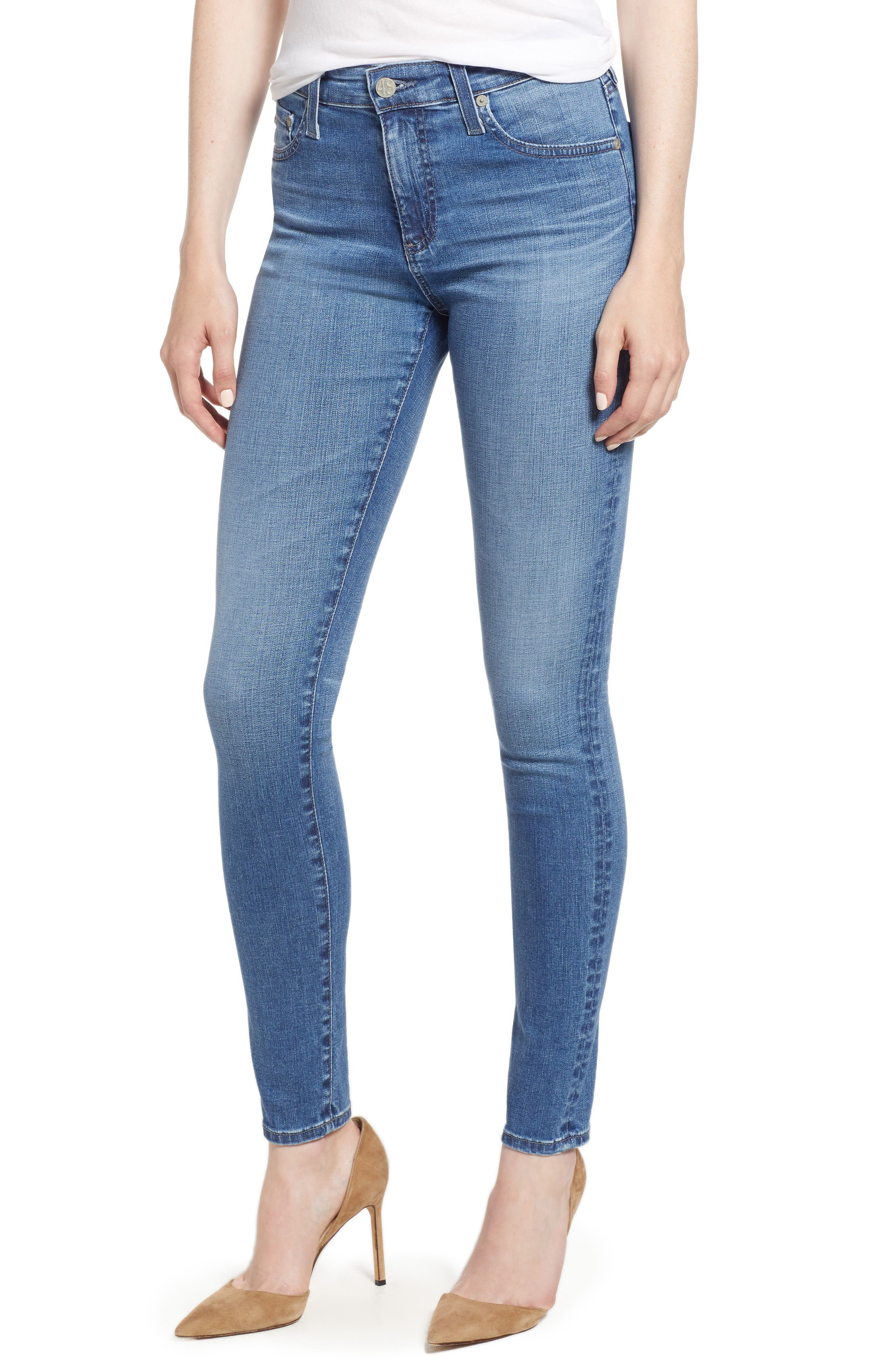 'The Farrah' High Rise Skinny Jeans,                             Main thumbnail 1, color,                             15 Years Chronic