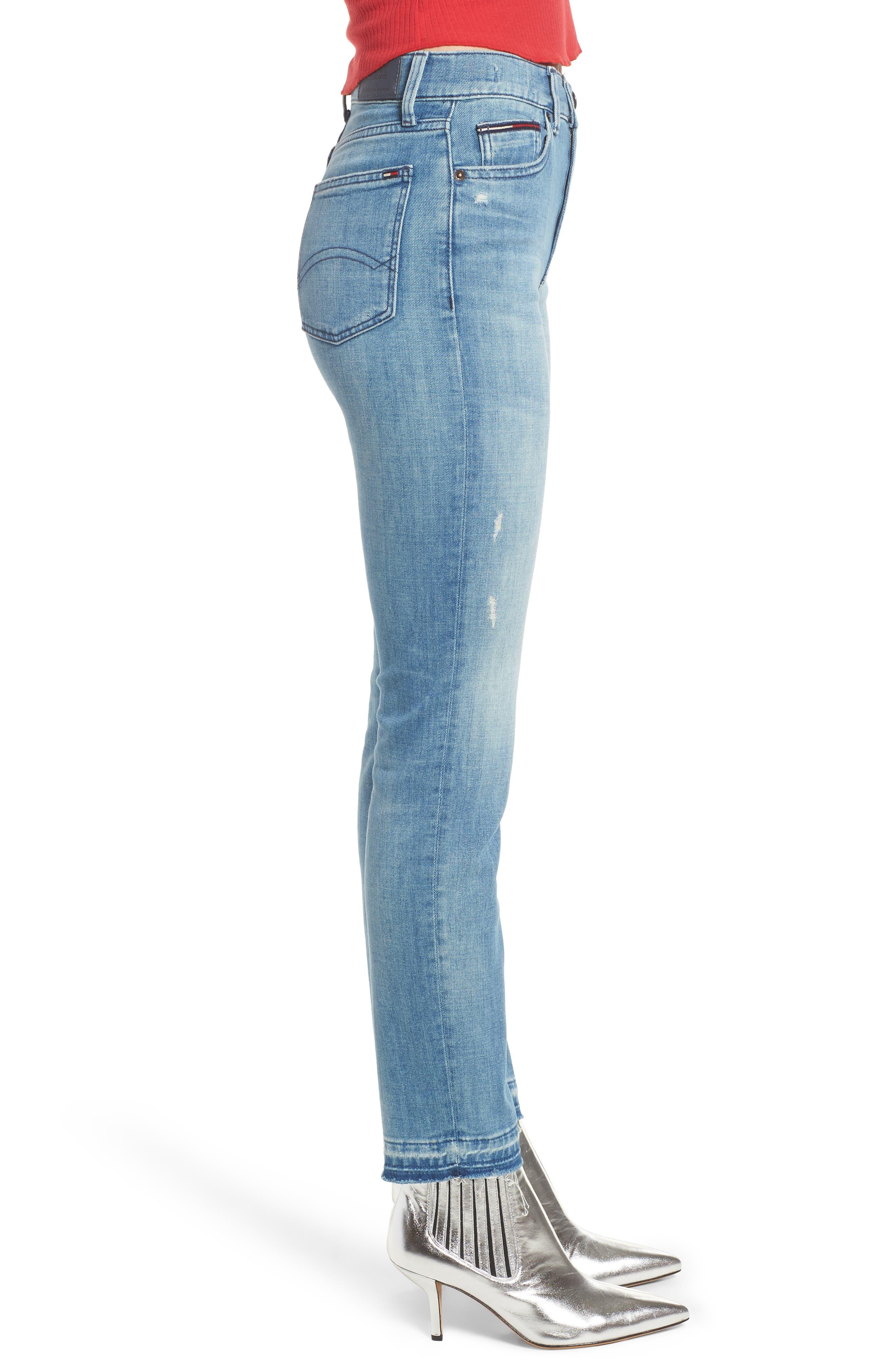 Izzy High Waist Slim Leg Jeans,                             Alternate thumbnail 3, color,                             Denver Light Blue Comfort