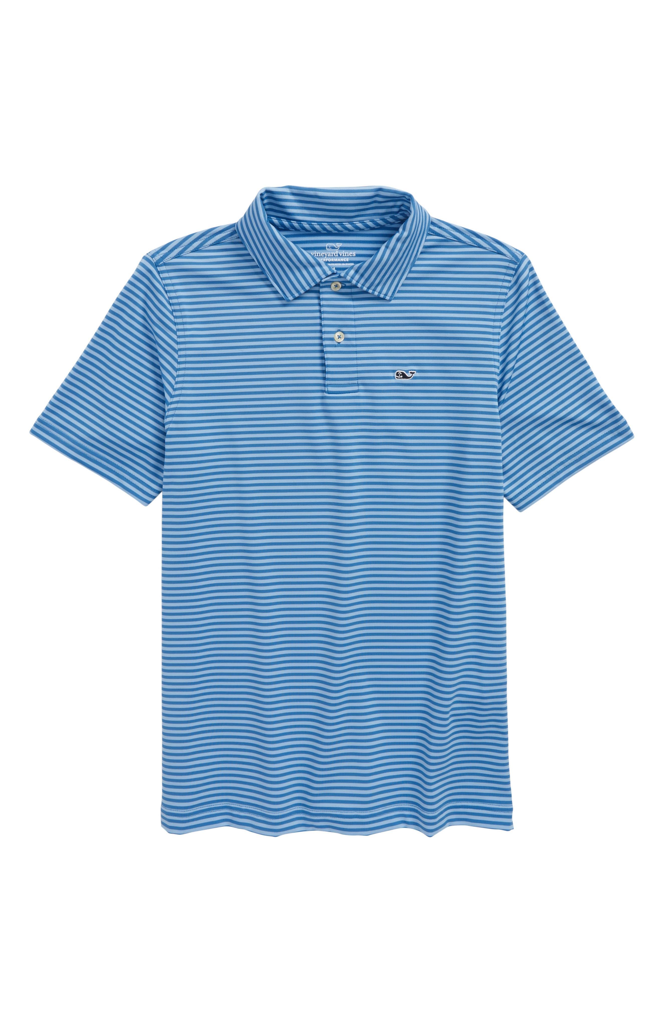 Feeder Stripe Performance Polo,                         Main,                         color, Hull Blue