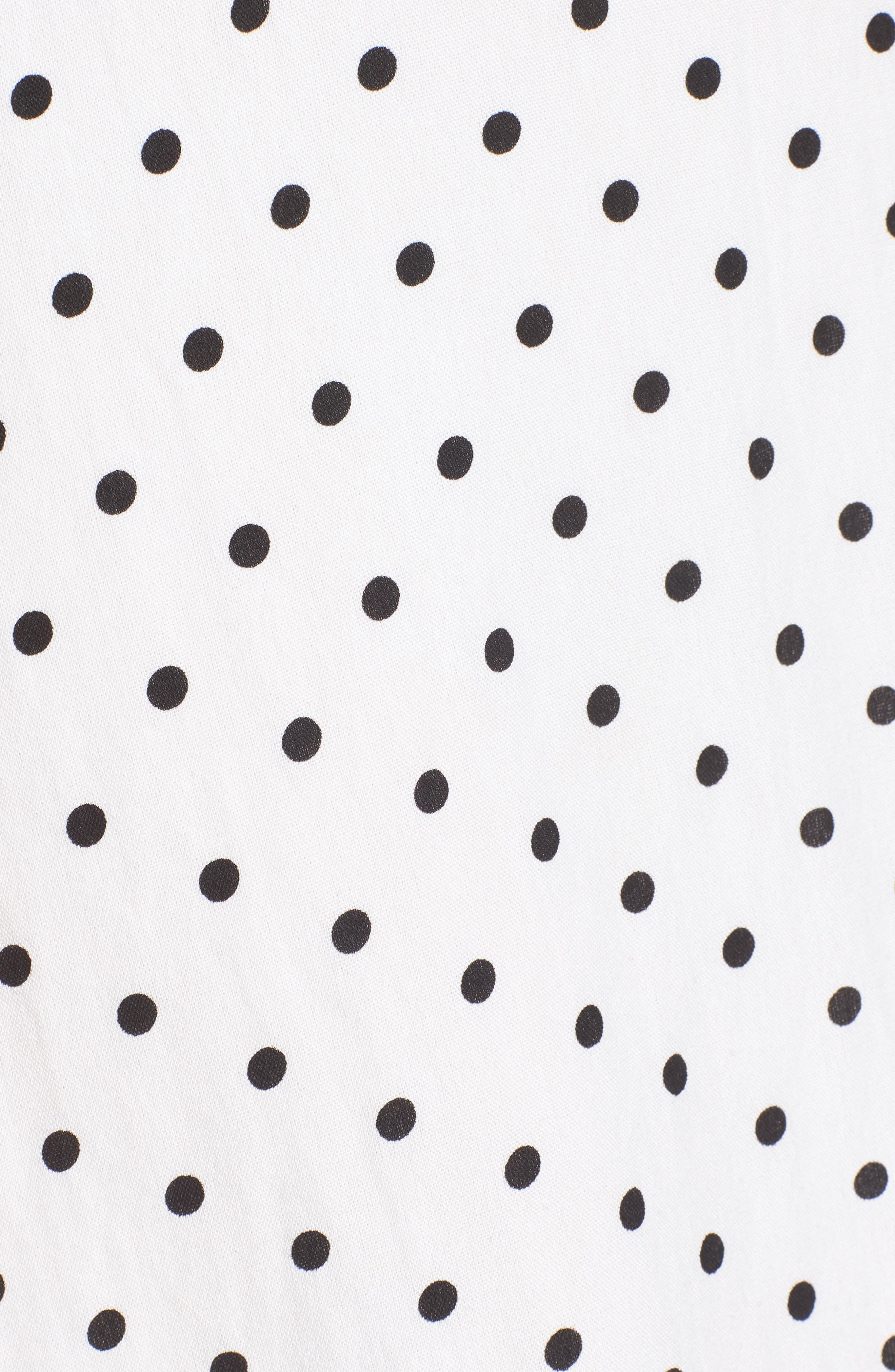 Stripe Tie Front Midi Dress,                             Alternate thumbnail 5, color,                             White Polka Dot
