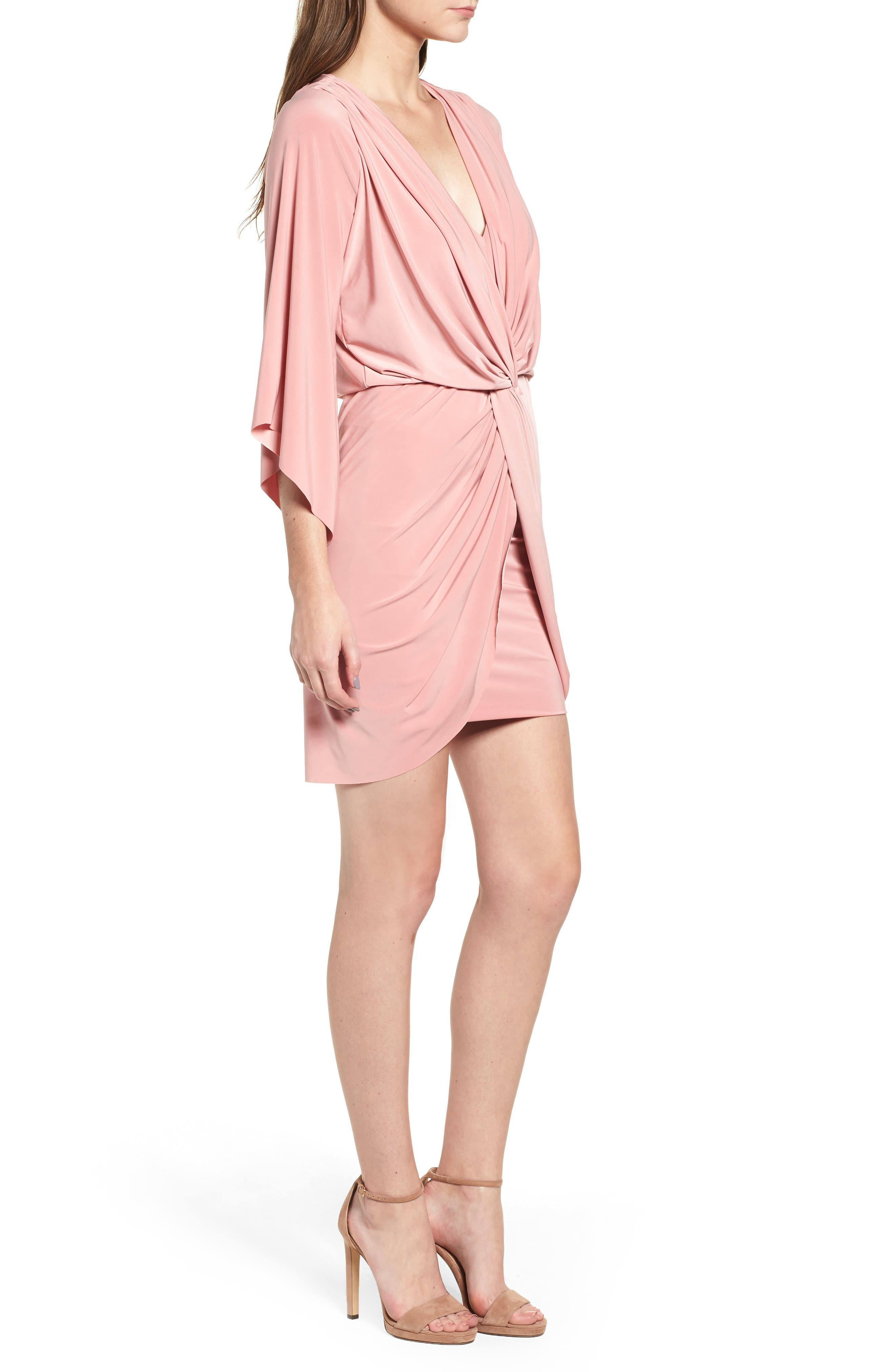 Teget Knot Front Dress,                             Alternate thumbnail 3, color,                             Dusty Rose