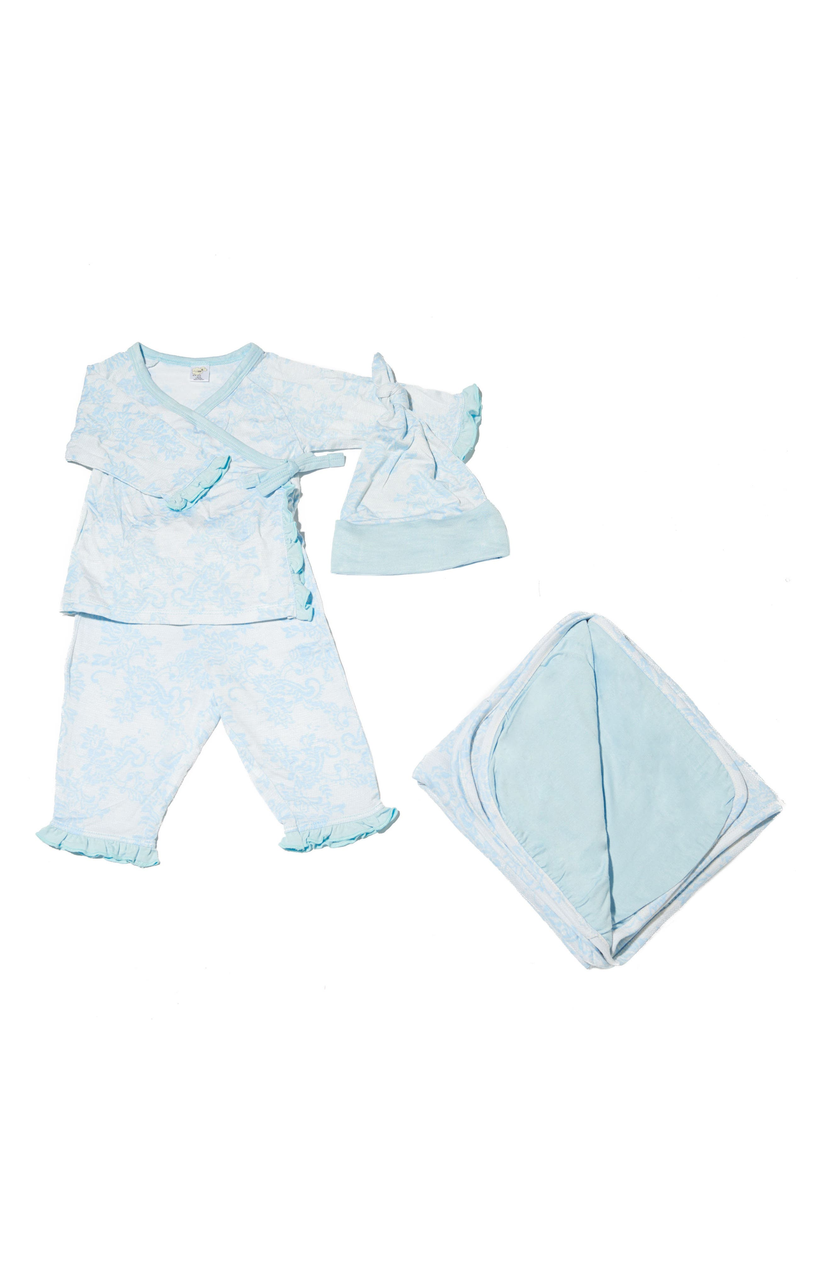 Ruffle Kimono Top, Pants, Hat & Blanket Set,                             Main thumbnail 1, color,                             Chantilly
