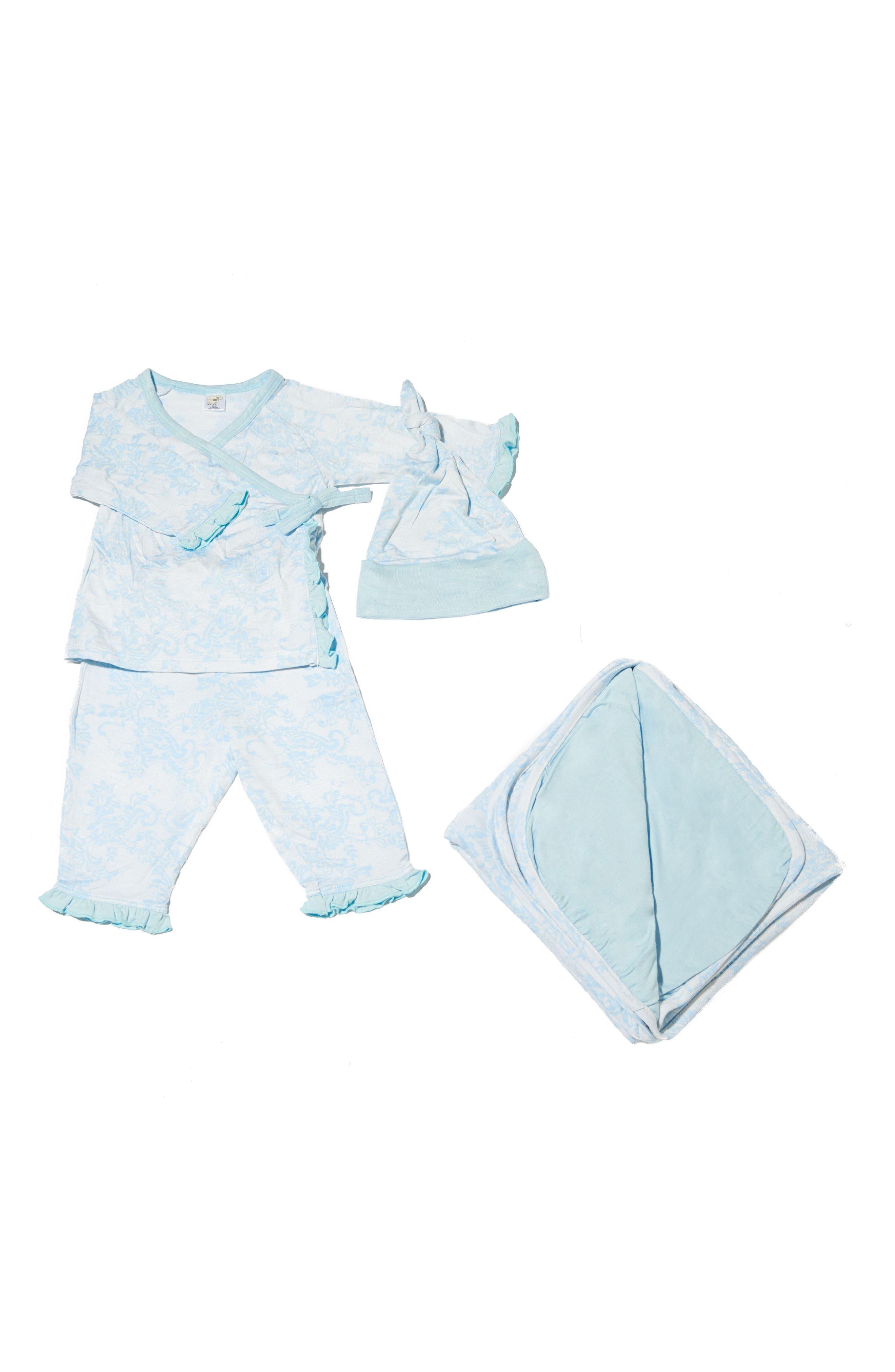 Ruffle Kimono Top, Pants, Hat & Blanket Set,                         Main,                         color, Chantilly