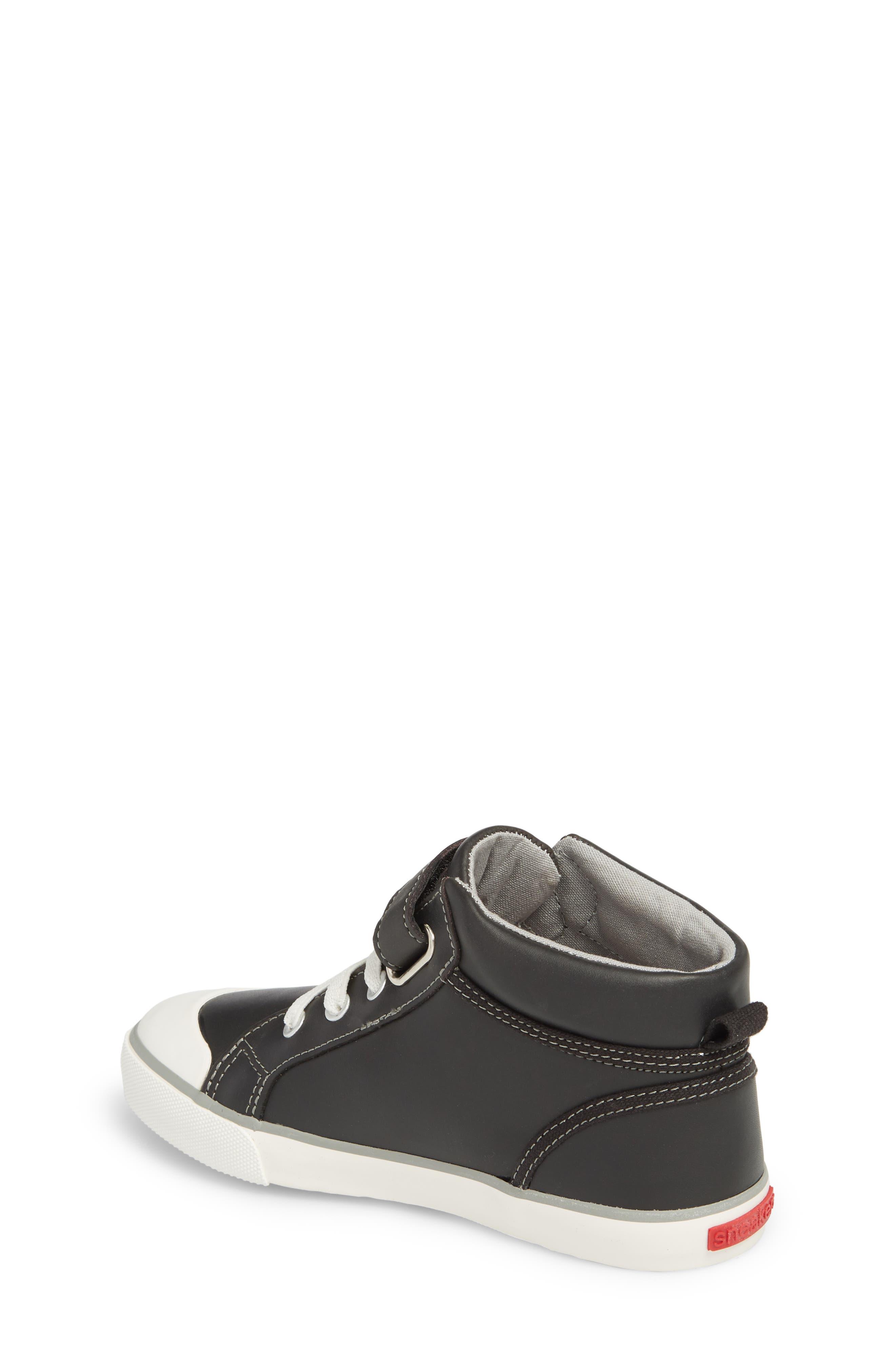 Peyton Metallic Mid Top Sneaker,                             Alternate thumbnail 2, color,                             Black Leather