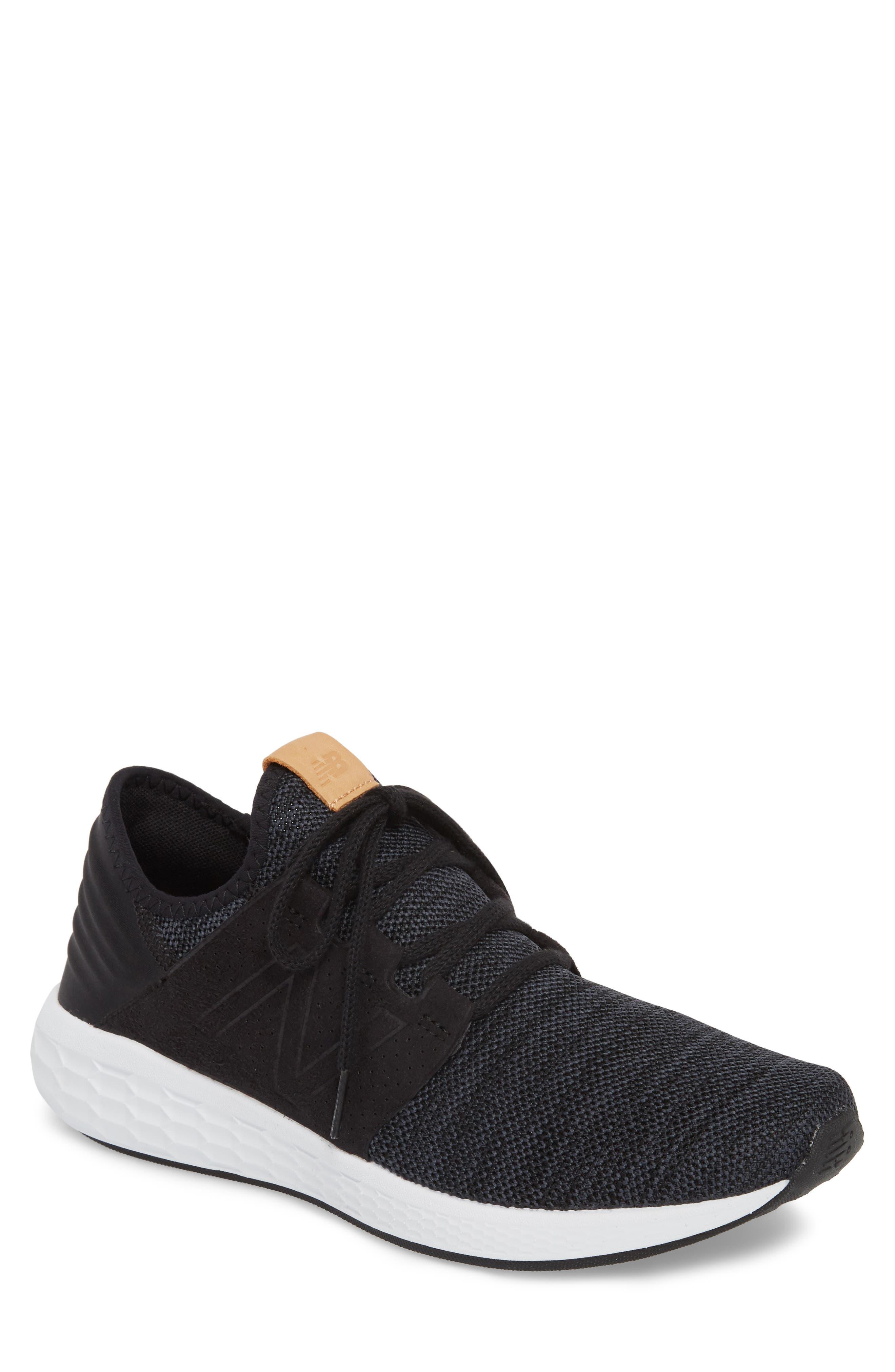 Fresh Foam Cruz v2 Knit Running Shoe,                             Main thumbnail 1, color,                             Black/ White